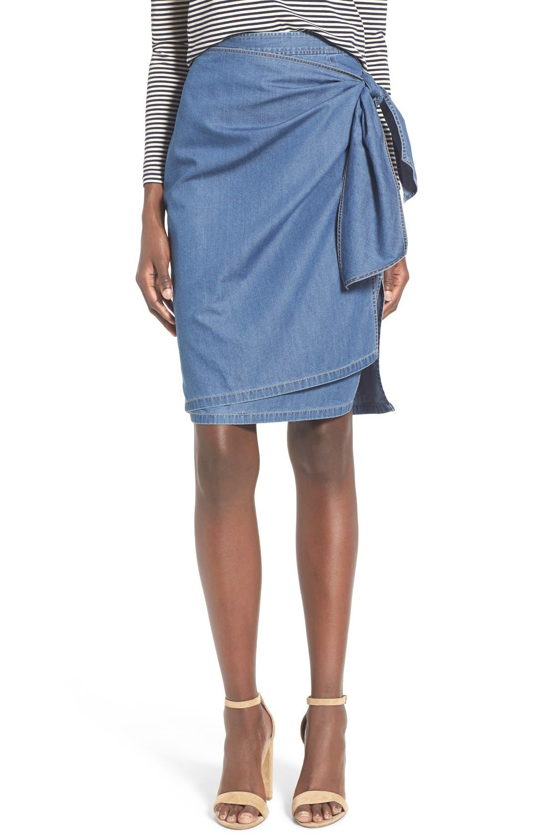 Alternate Image 1 Selected - Chelsea28 Tie Front Chambray Skirt