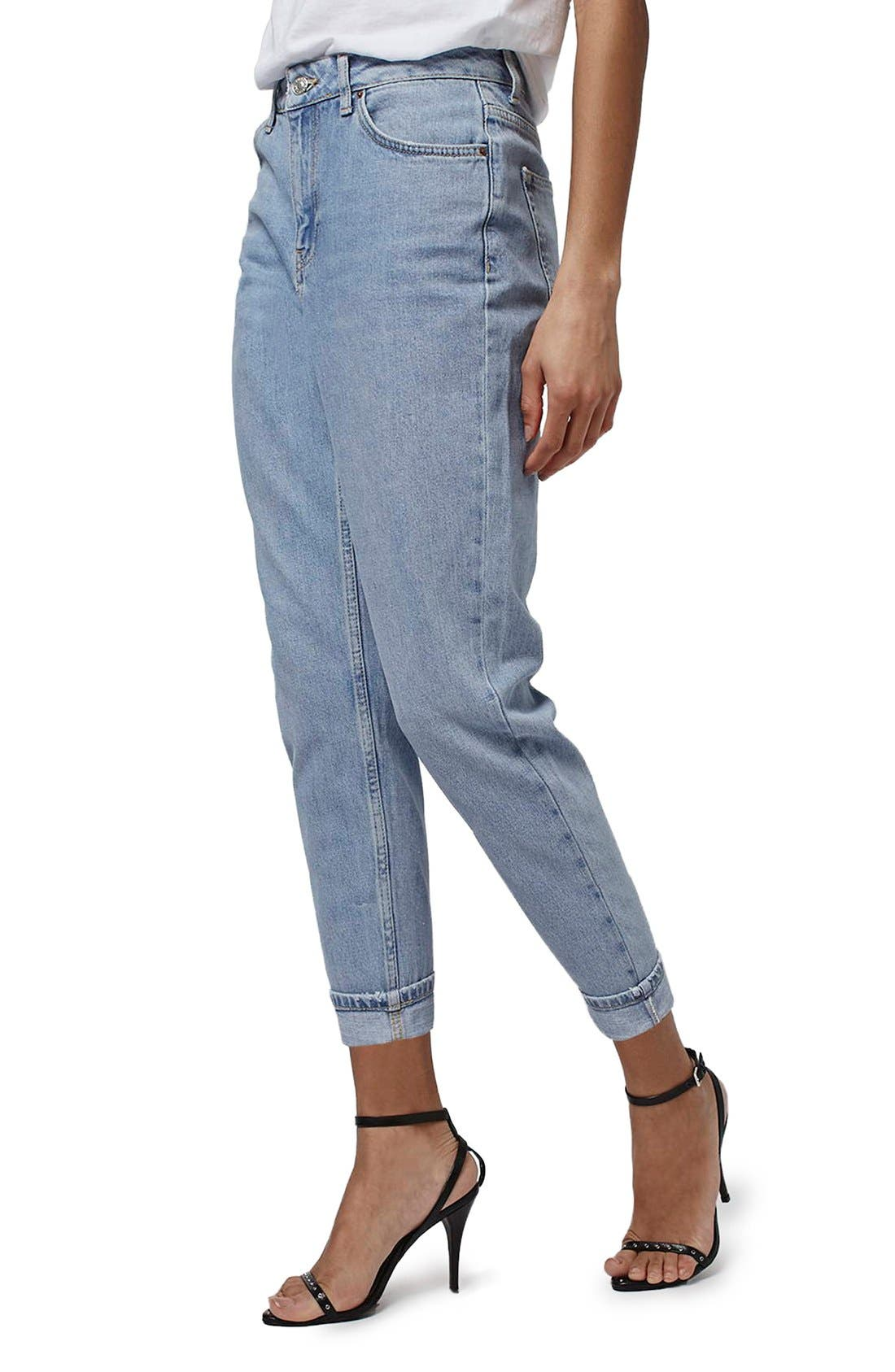 Alternate Image 1 Selected - Topshop Mom Jeans (Lilac) (Petite)