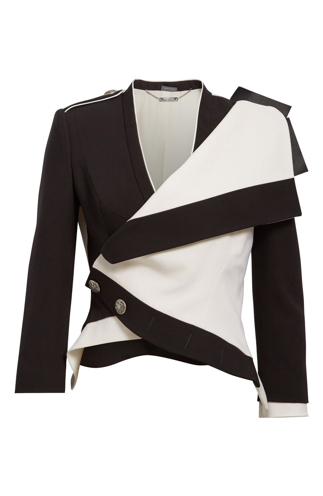 Alternate Image 4  - Alexander McQueen Two-Tone Drape Front Military Jacket