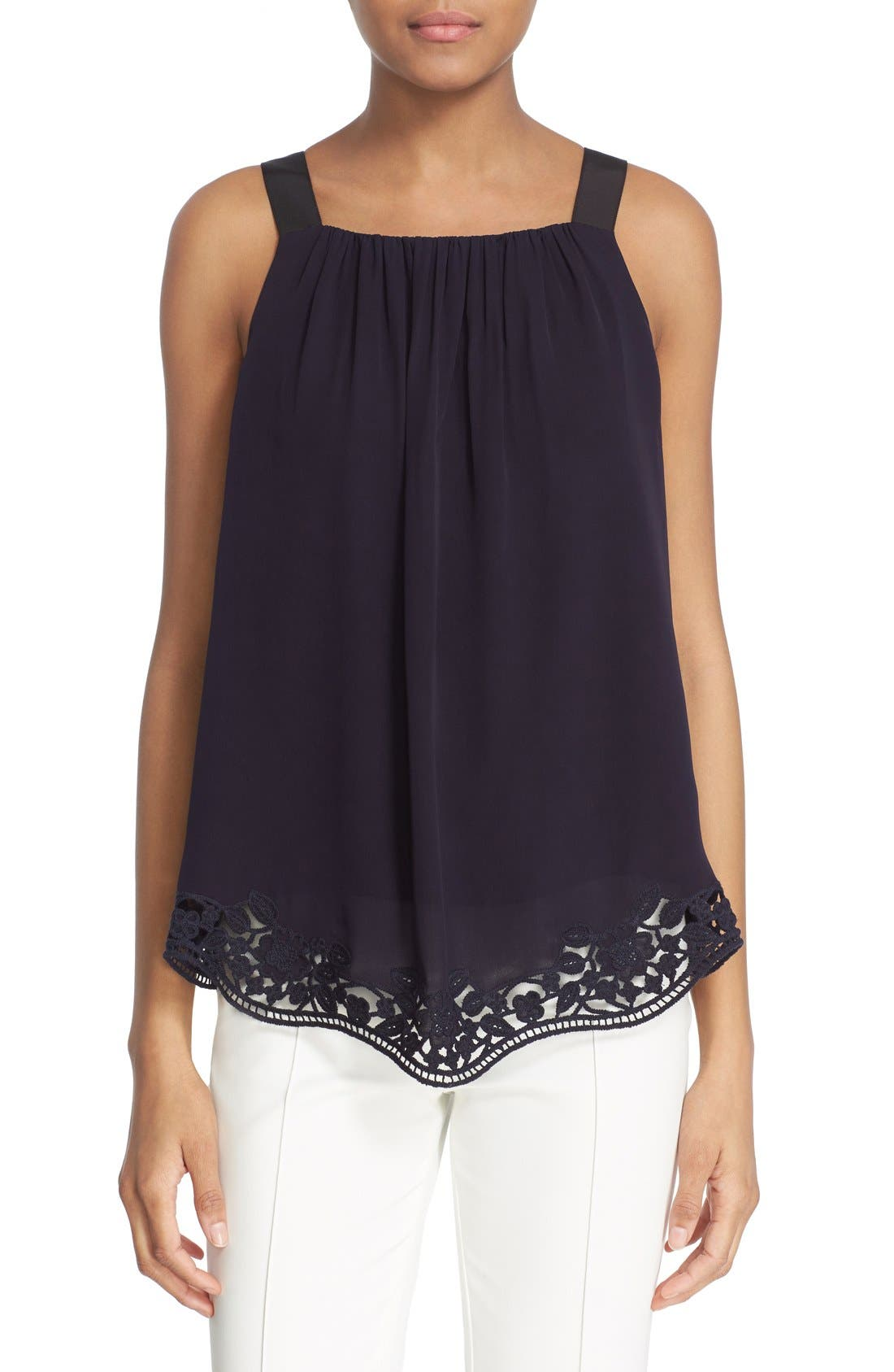 Alternate Image 1 Selected - kate spade new york embroidered trim silk swing top