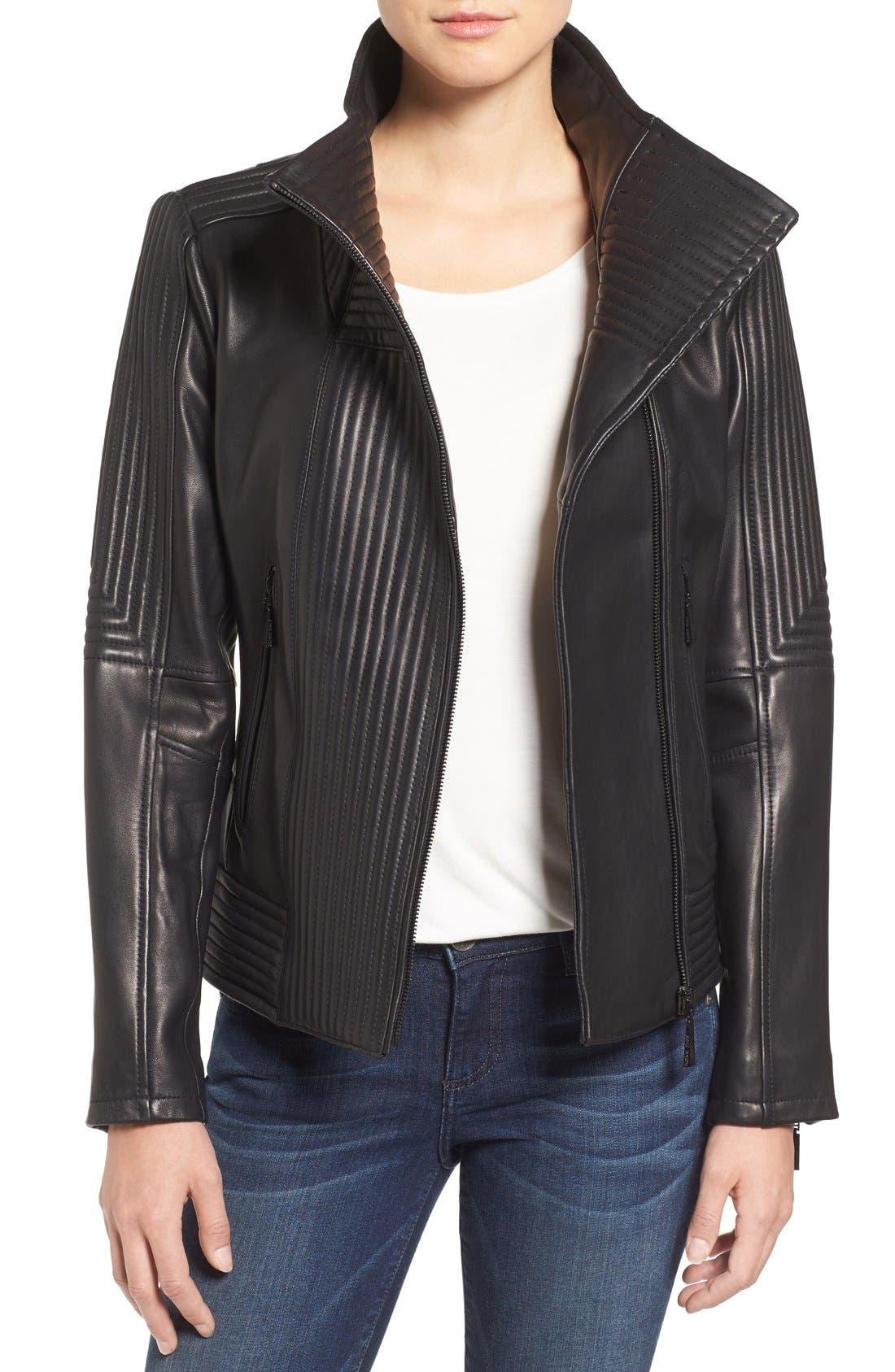 Alternate Image 1 Selected - Vince Camuto Trapunto Leather Jacket