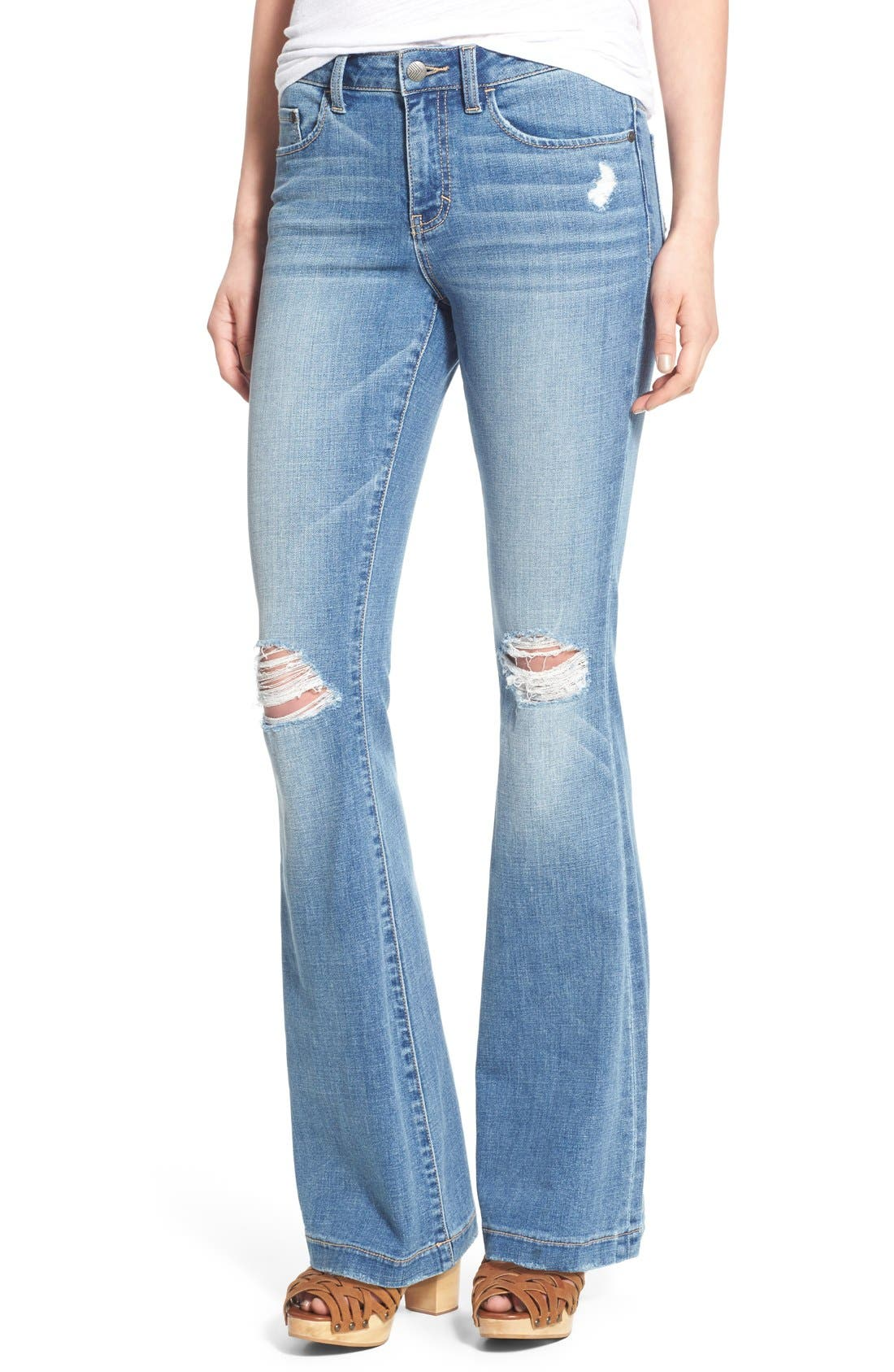 Main Image - Sun & Shadow Distressed Flare Jeans (Kelly Blue)