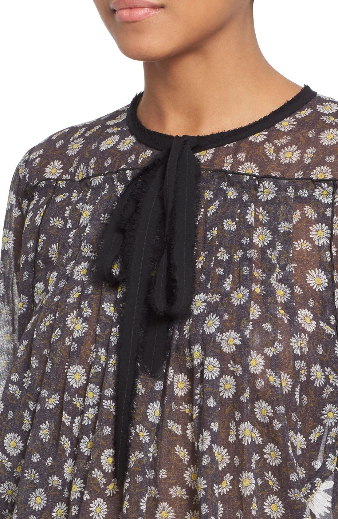 Alternate Image 6  - MARC JACOBS Daisy Print Sheer Tie Neck Peasant Blouse