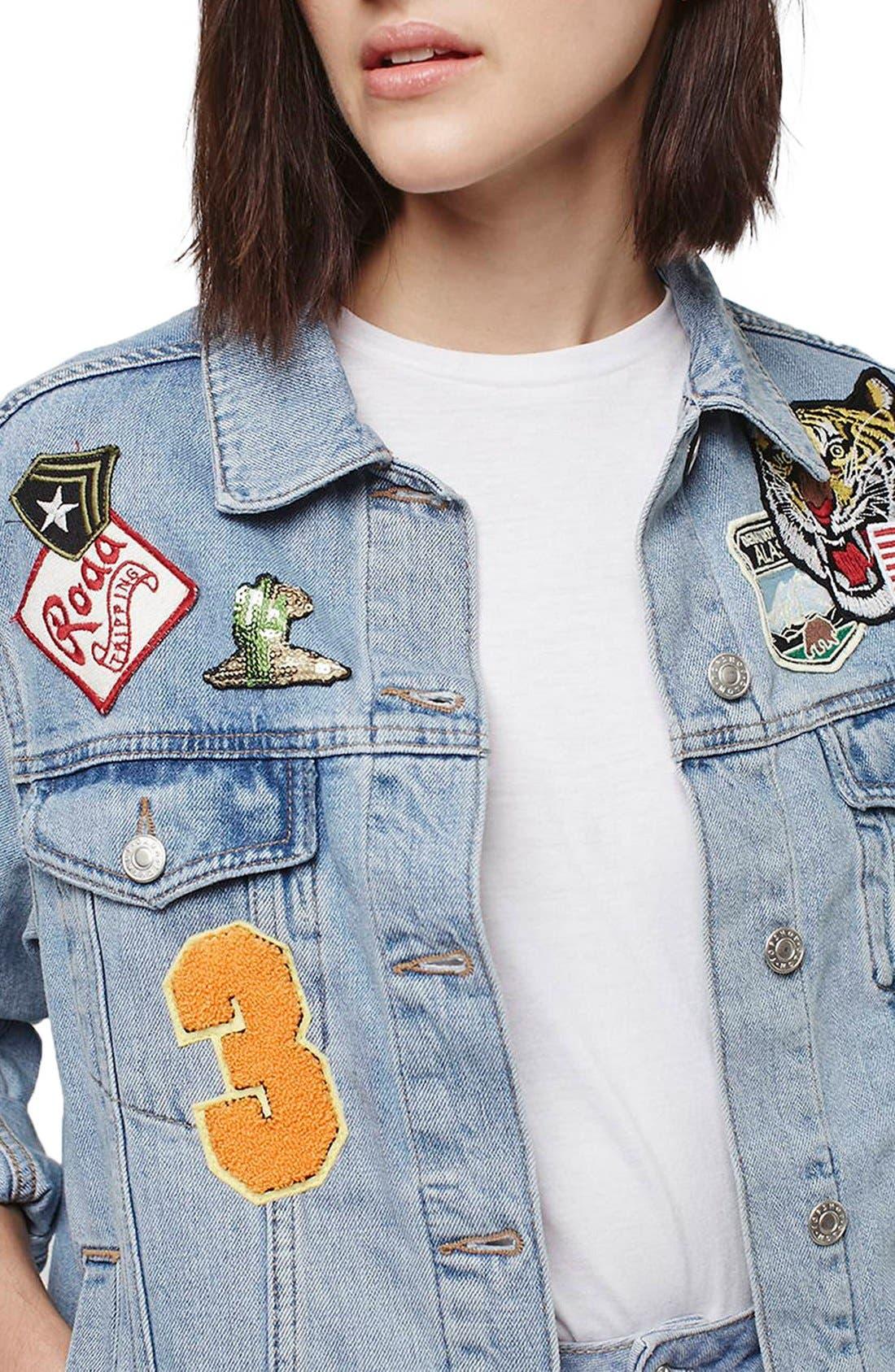 Alternate Image 4  - Topshop Moto Badged Denim Jacket (Petite)