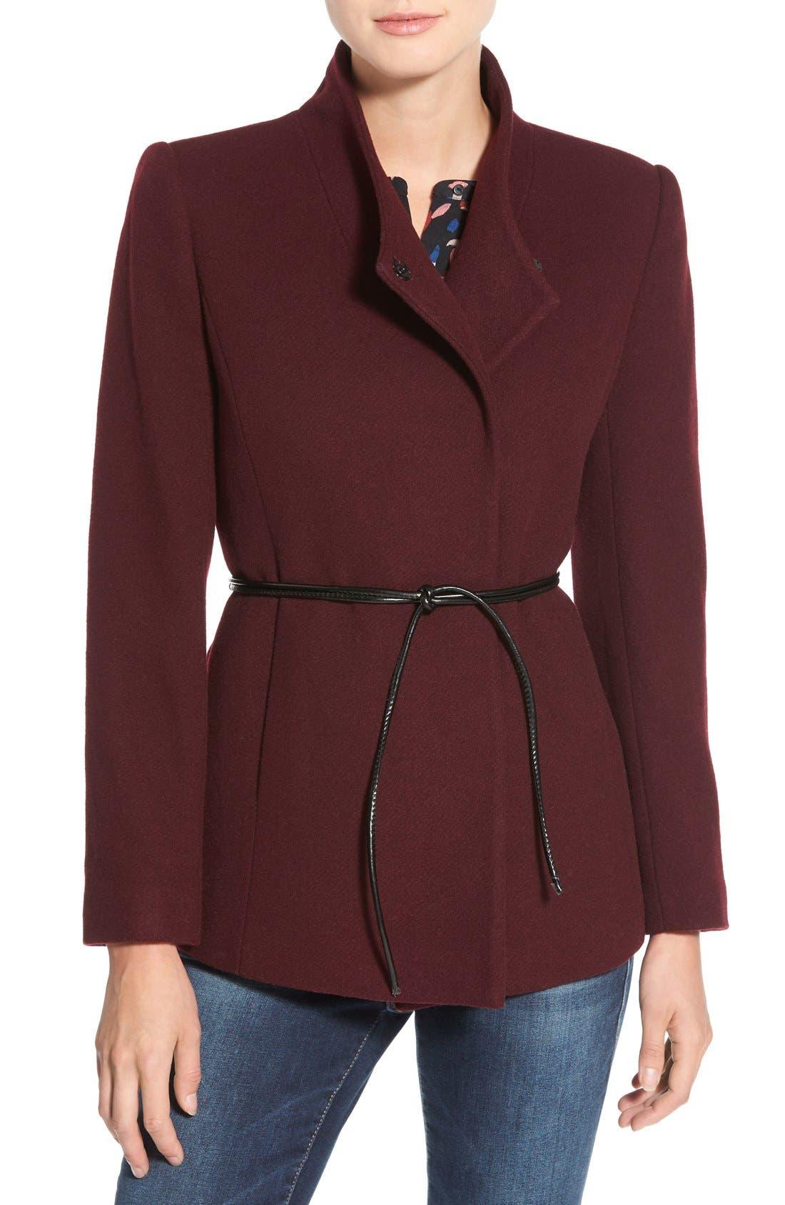 Alternate Image 4  - Halogen® Belted Short Wool Blend Coat (Regular & Petite)
