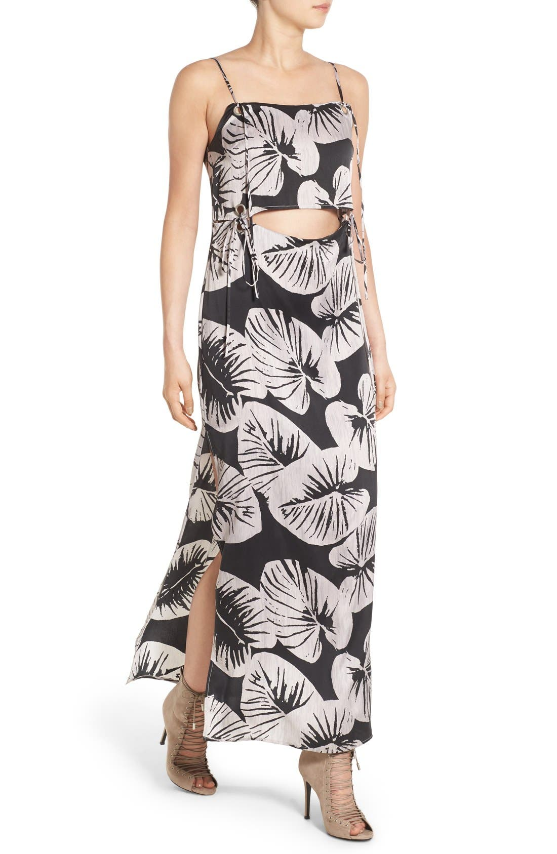 Main Image - KENDALL + KYLIE Print Cutout Silk Maxi Dress