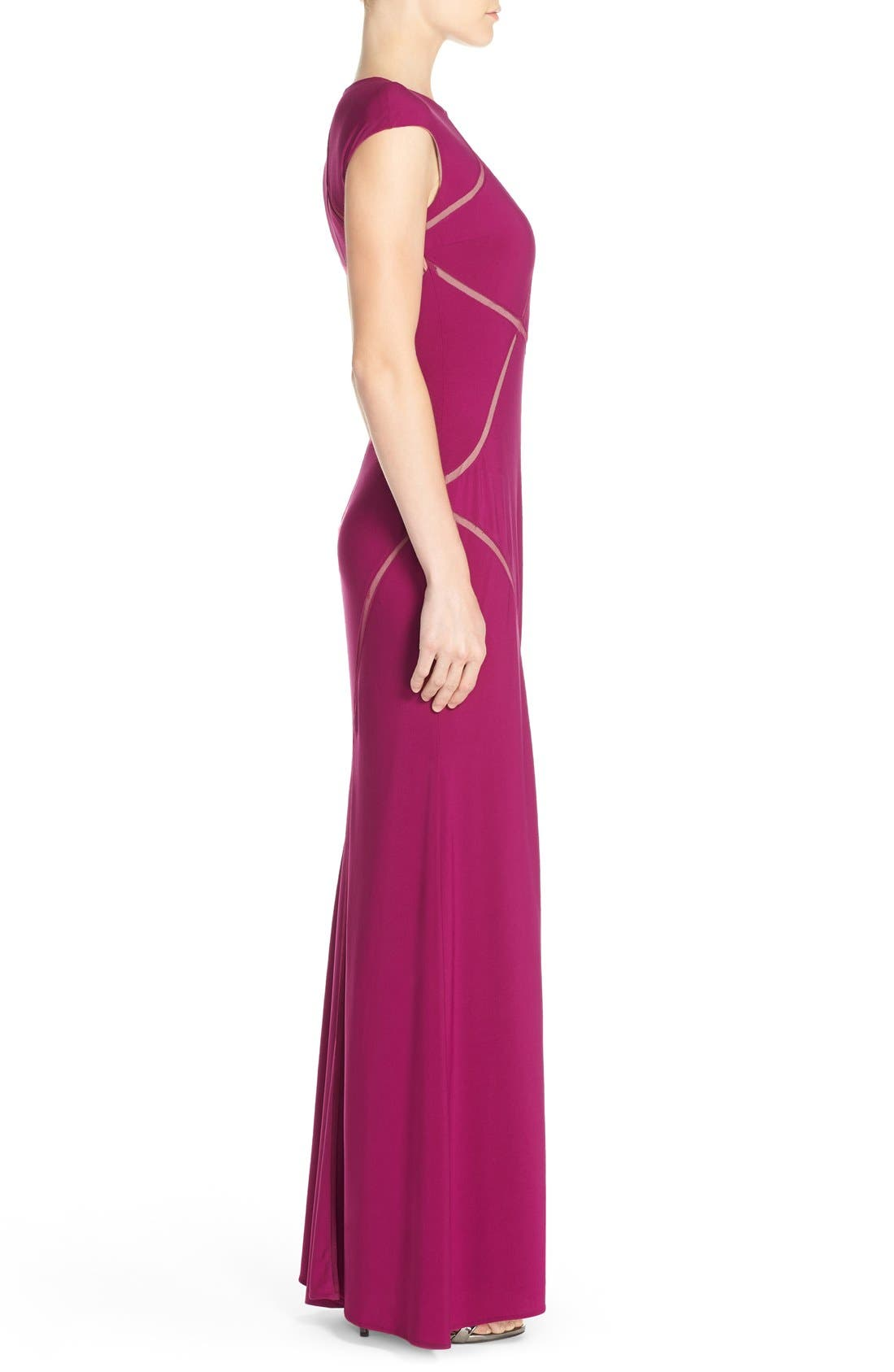 Alternate Image 3  - Xscape Mesh Inset Jersey Gown
