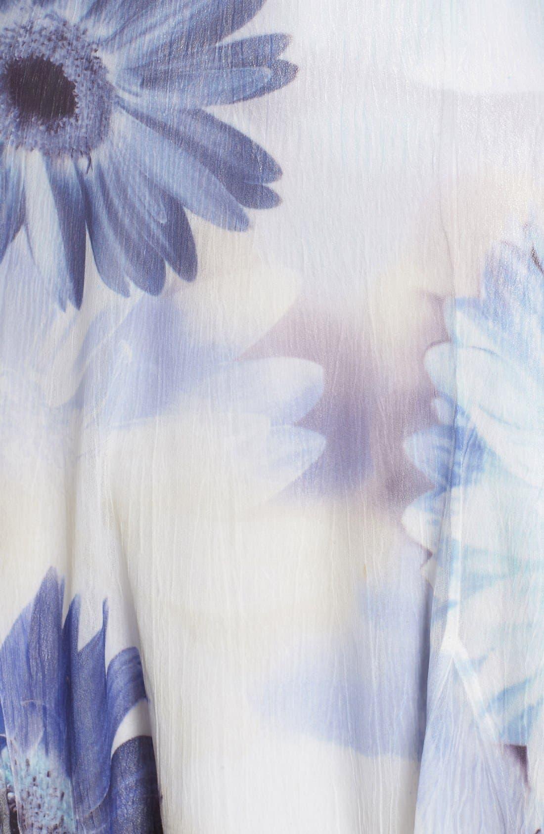 Alternate Image 5  - Komarov Floral Print Chiffon A-Line Dress (Regular & Petite)