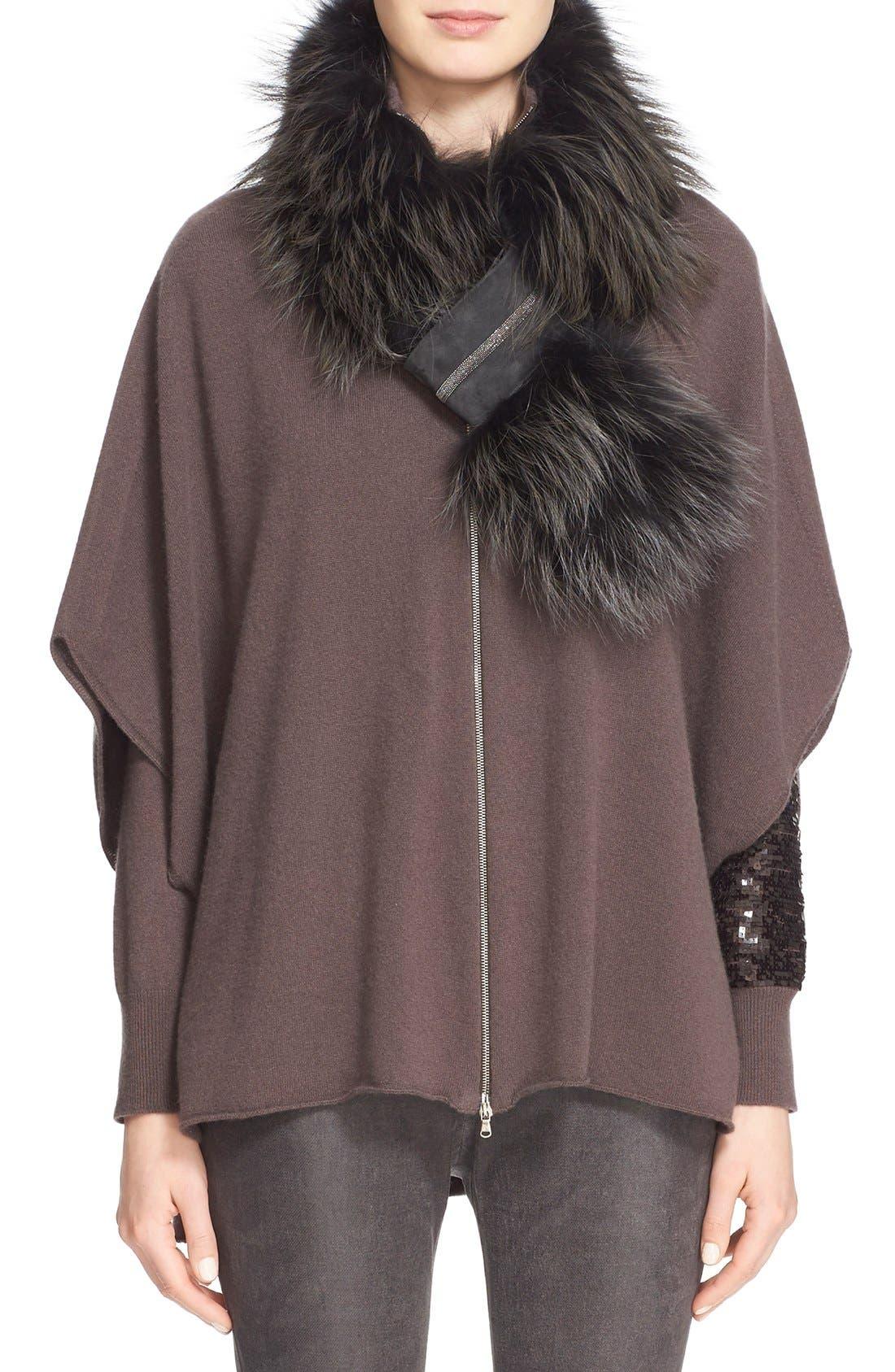 Alternate Image 2  - Fabiana Filippi Genuine Fox Fur Scarf with Beaded Suede Pull