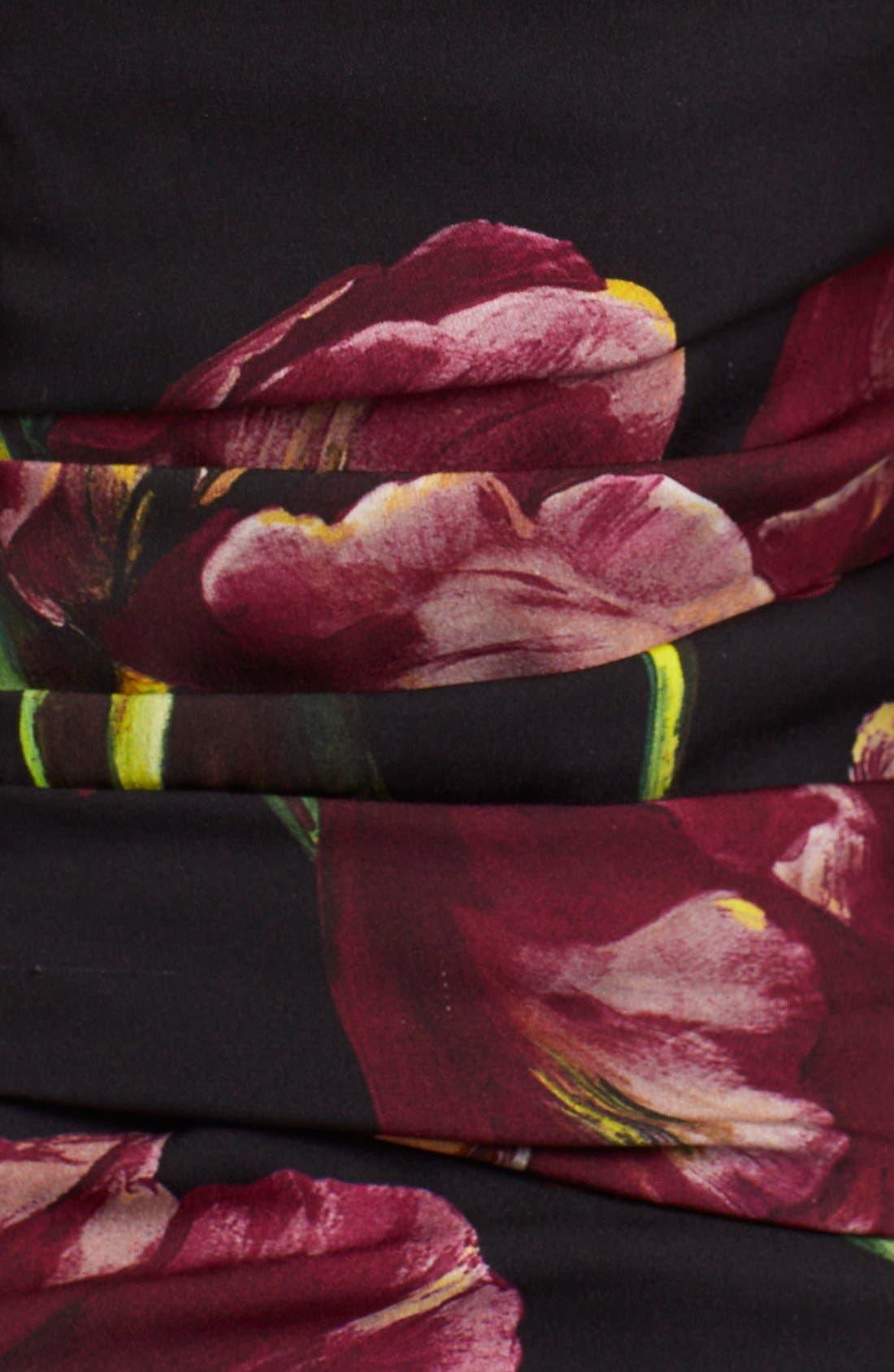 Alternate Image 3  - Dolce&Gabbana Tulip Print Ruched Off the Shoulder Charmeuse Dres