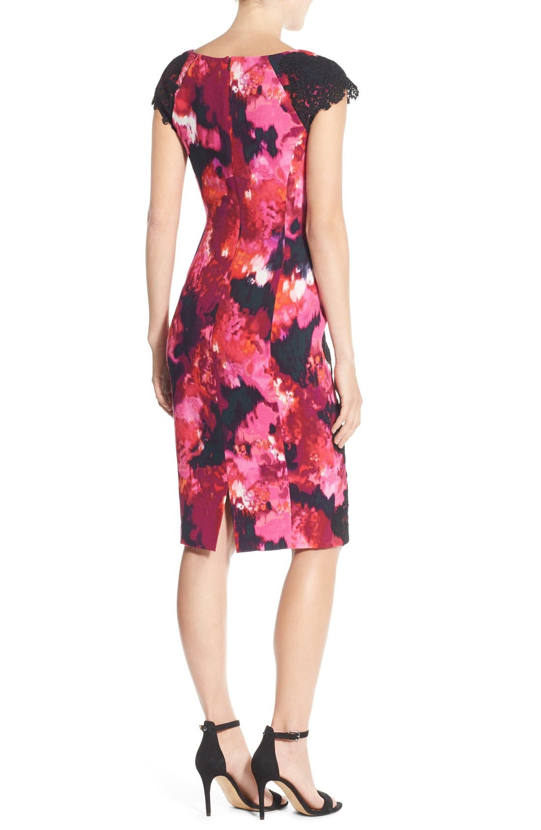 Alternate Image 2  - Maggy London Lace & Crepe Sheath Dress (Regular & Petite) (Nordstrom Exclusive)
