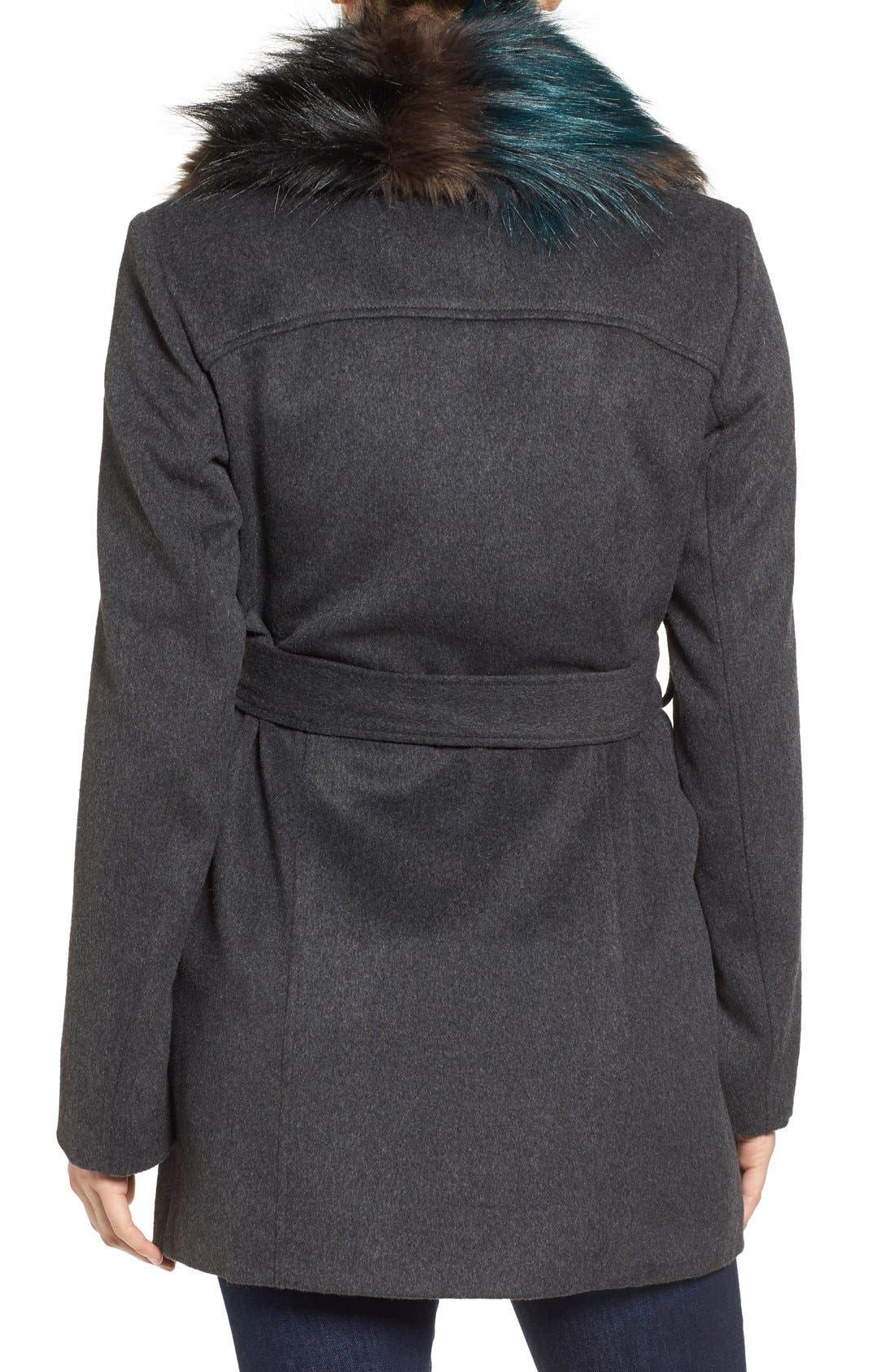 Alternate Image 2  - Sam Edelman Wool Coat with Removable Faux Fur Collar