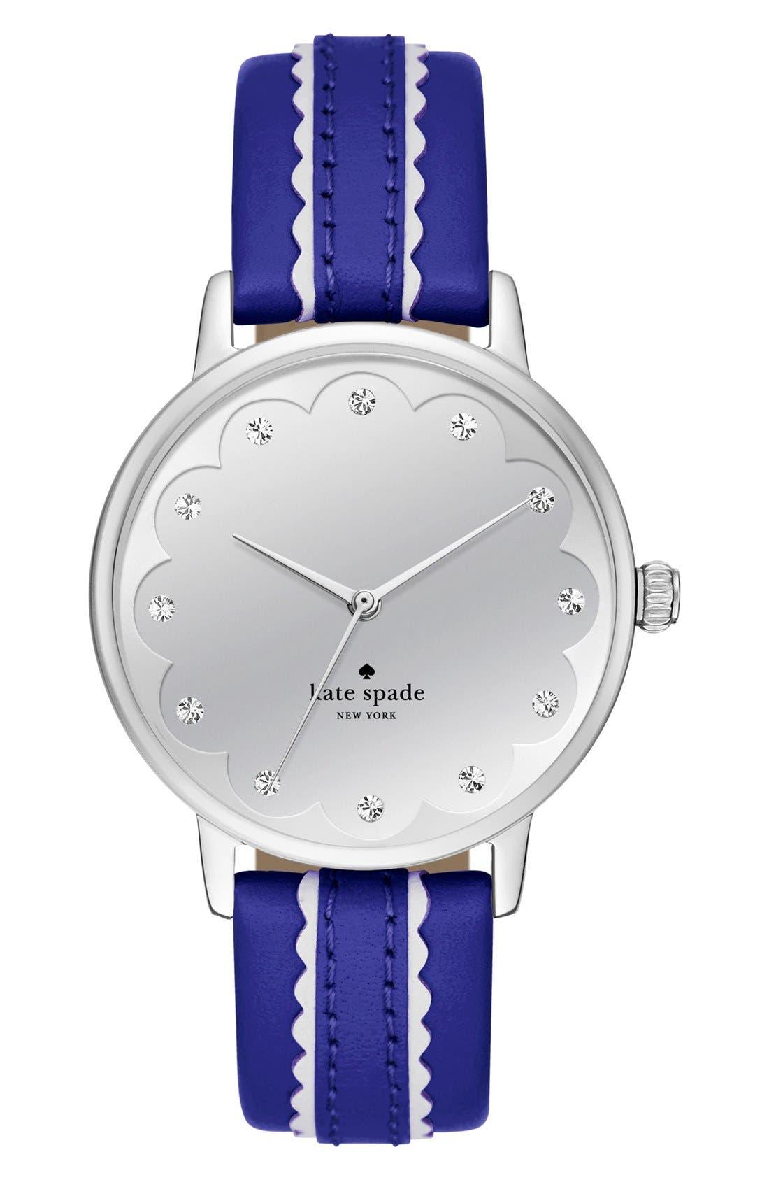 Main Image - kate spade new york 'metro' leather strap watch, 34mm