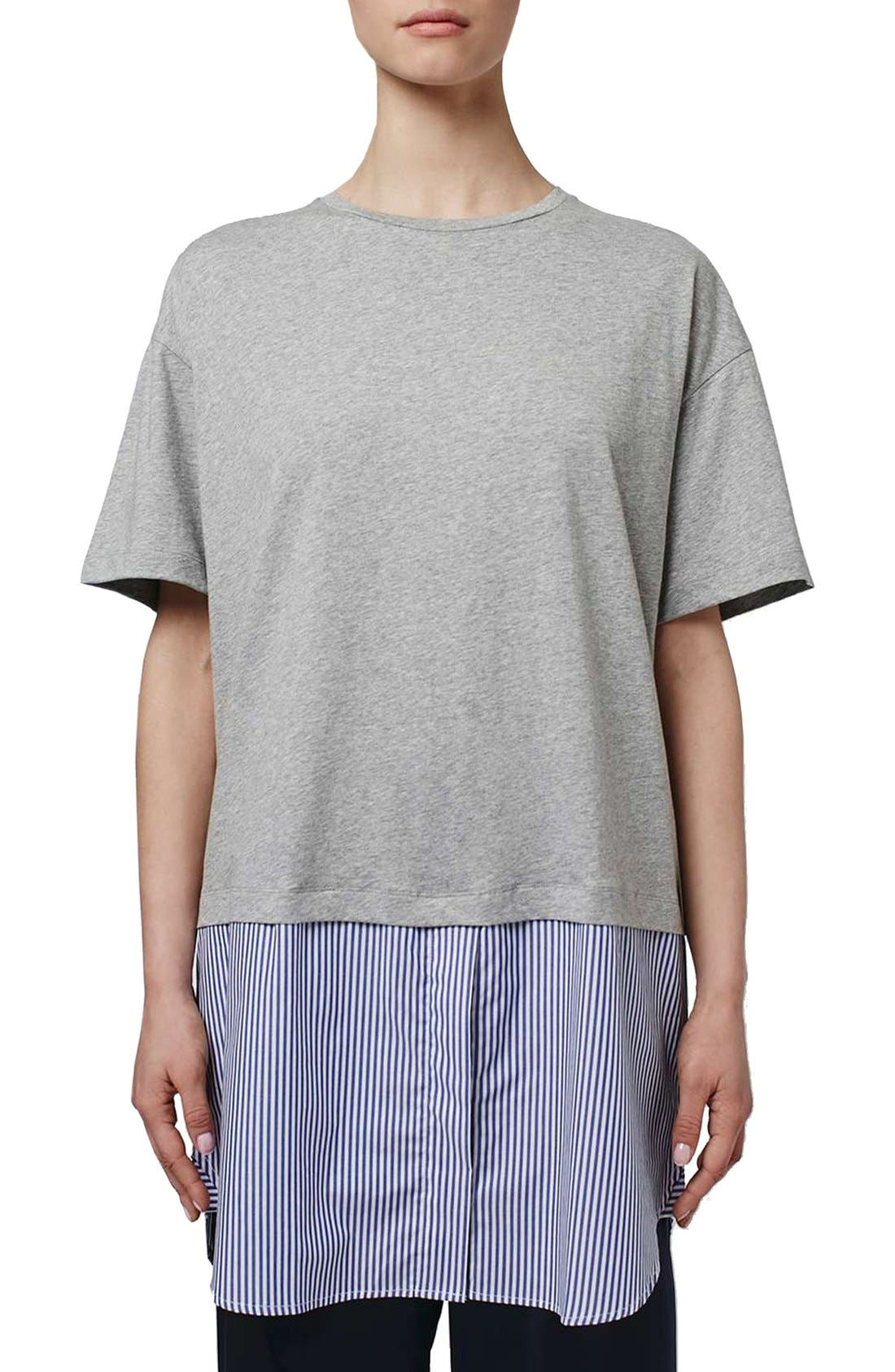 Main Image - Topshop Boutique Stripe Shirt Hem T-Shirt Dress