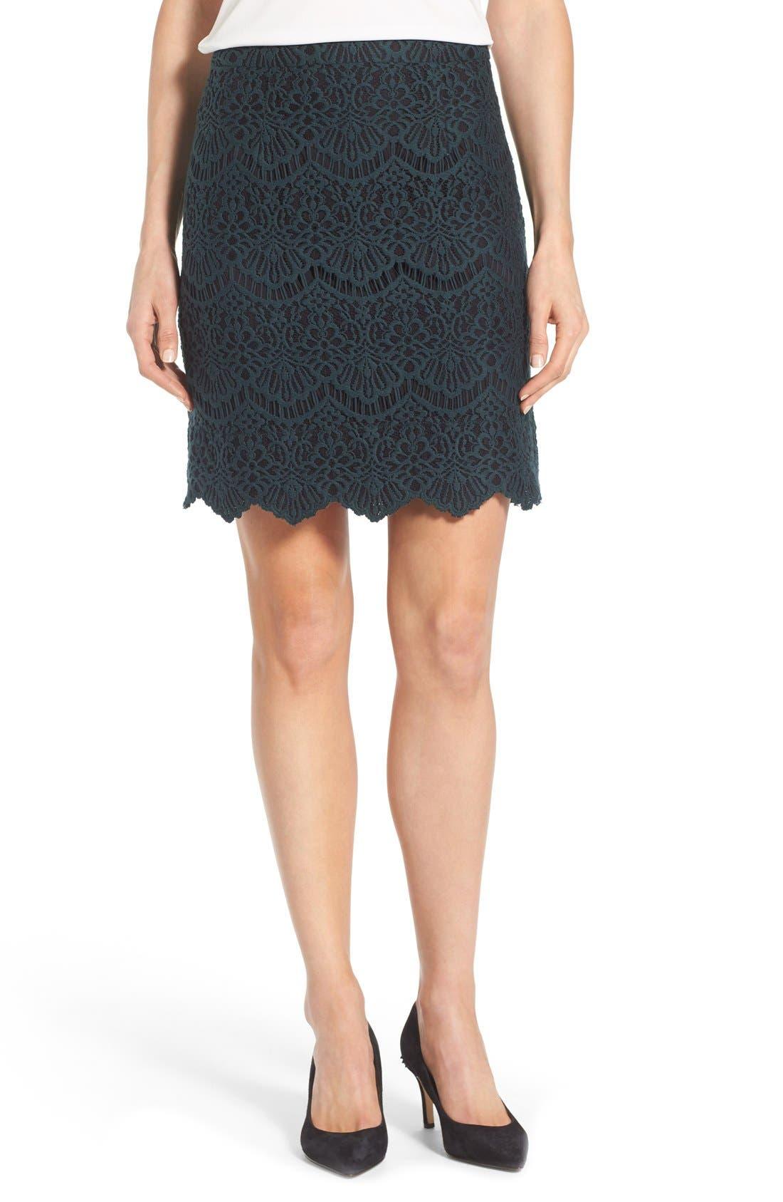 Alternate Image 1 Selected - Halogen® Scallop Edge Lace Skirt (Regular & Petite)