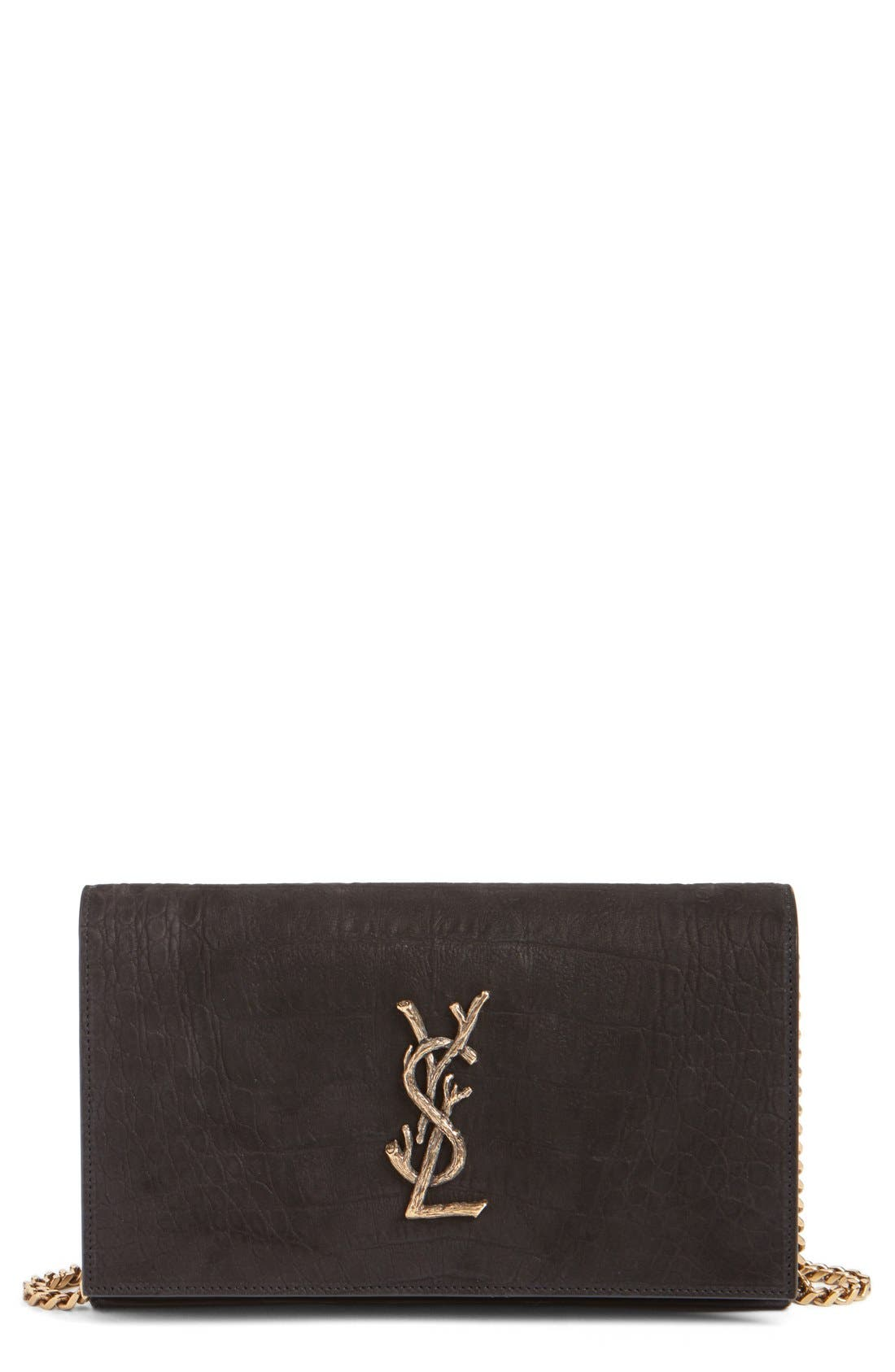 Main Image - Saint Laurent 'Small Kate - Tree' Croc Embossed Calfskin Leather Wallet on a Chain