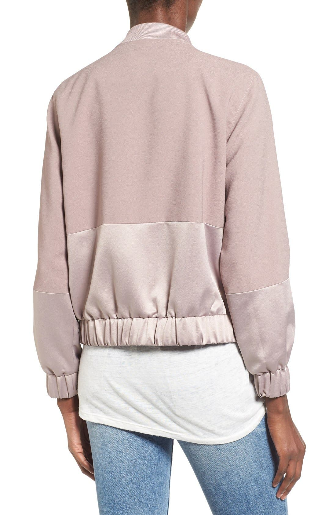 Alternate Image 2  - Missguided Satin & Faux Suede Bomber Jacket