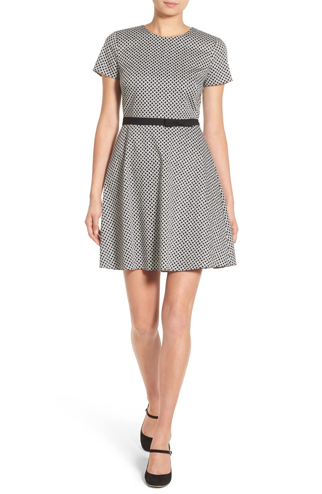 cece trellis link belt detail fit flare dress nordstrom