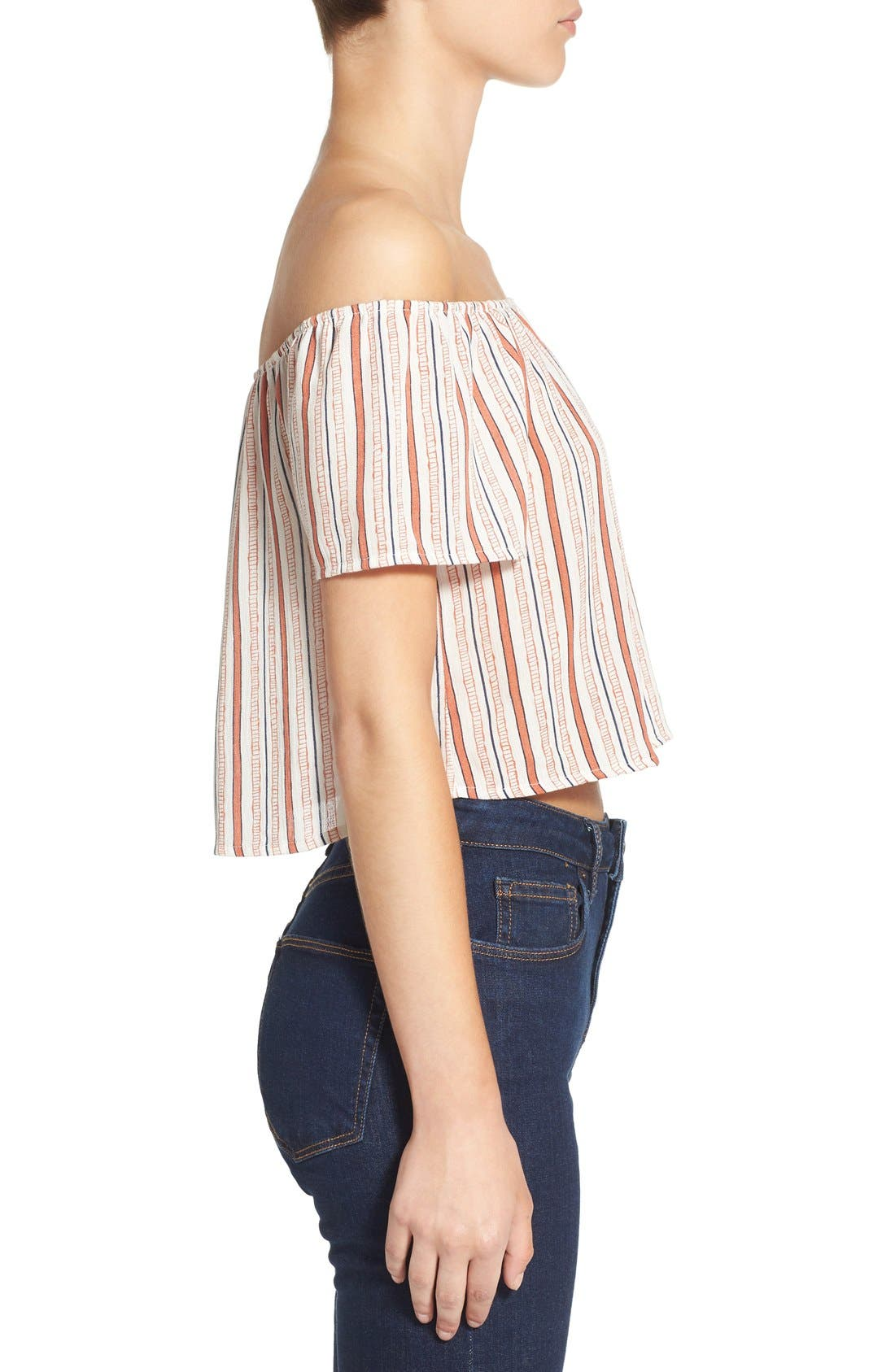 Alternate Image 3  - Ten Sixty Sherman Stripe Off the Shoulder Crop Top