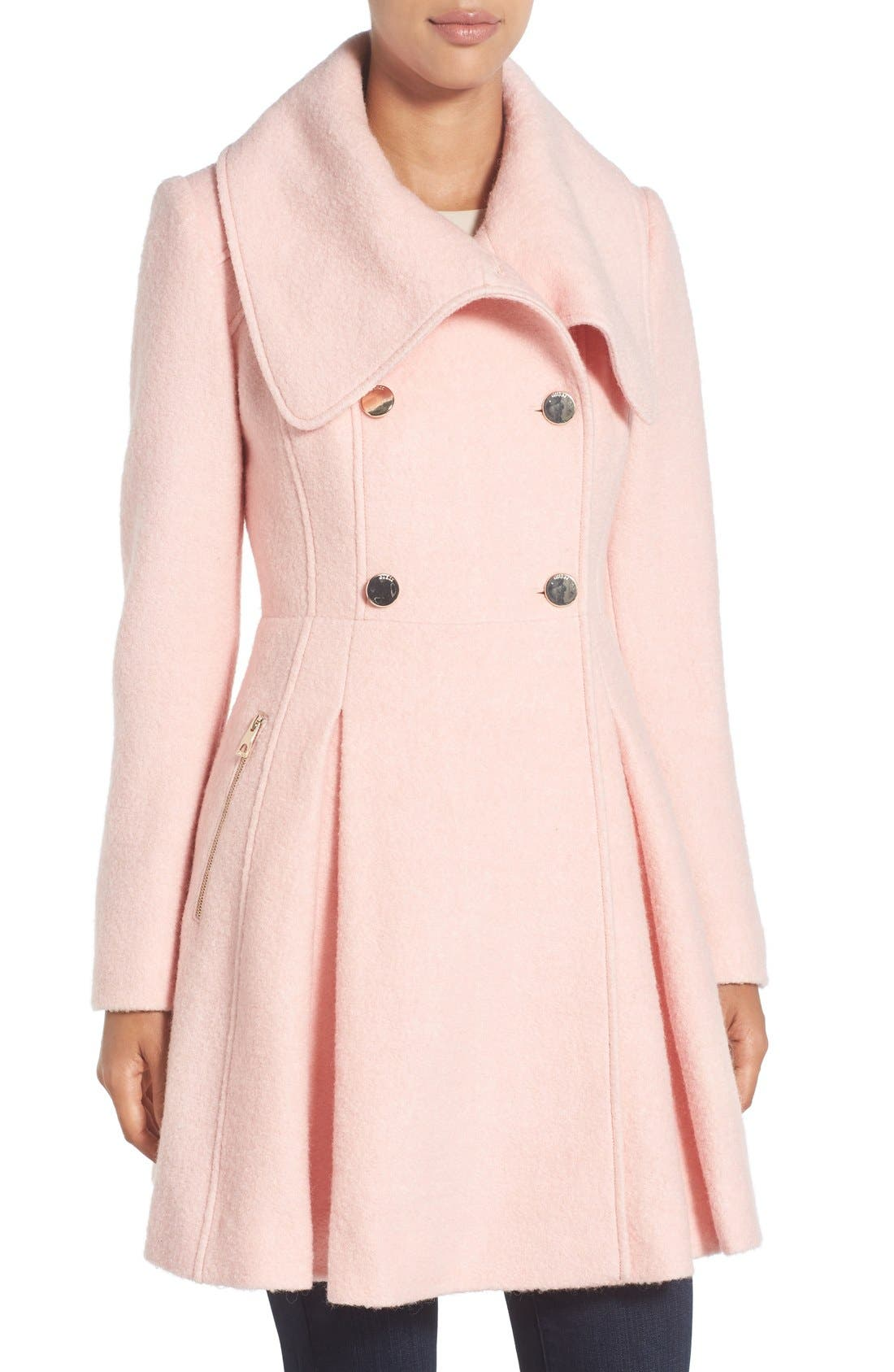 Main Image - GUESS Envelope Collar Double Breasted Coat (Regular & Petite)