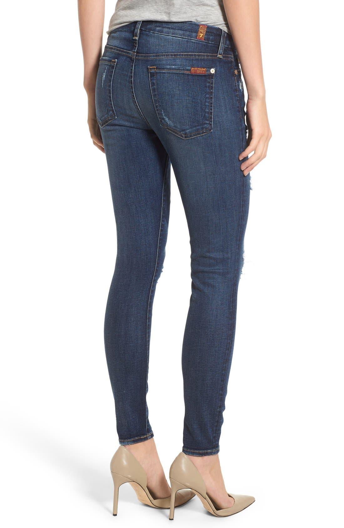 Alternate Image 2  - 7 For All Mankind® Destroyed Skinny Jeans (Dark Vintage Blue)