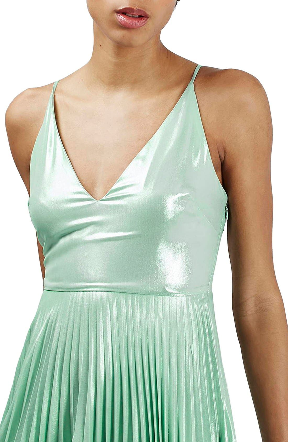 Alternate Image 5  - Topshop Metallic Plunge Pleat Midi Dress