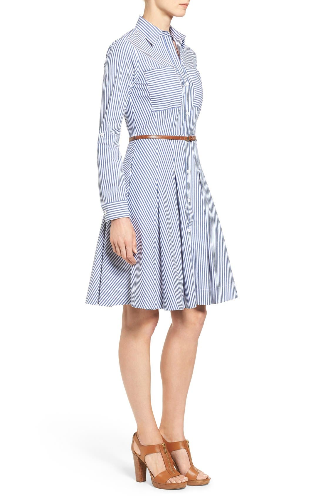 Alternate Image 3  - MICHAEL Michael Kors Belted Stripe Stretch Cotton Shirtdress