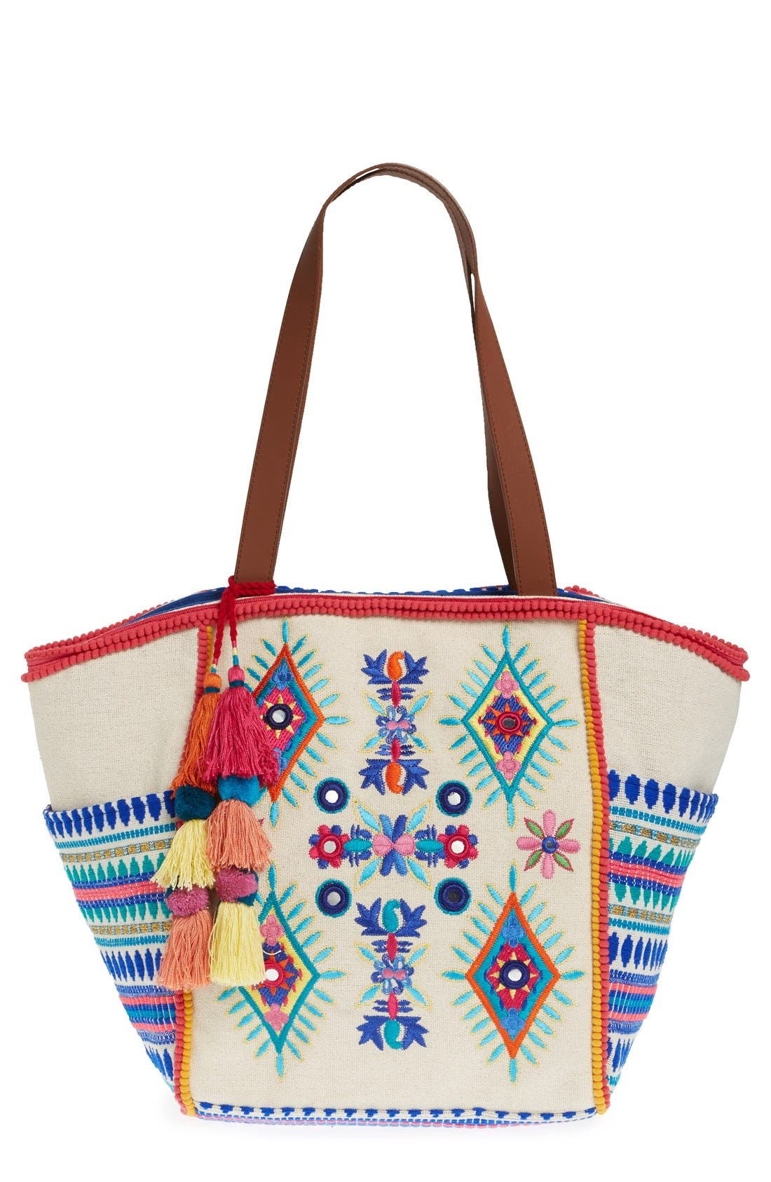 Main Image - Steven by Steve Madden Embroidered Pompom Tote