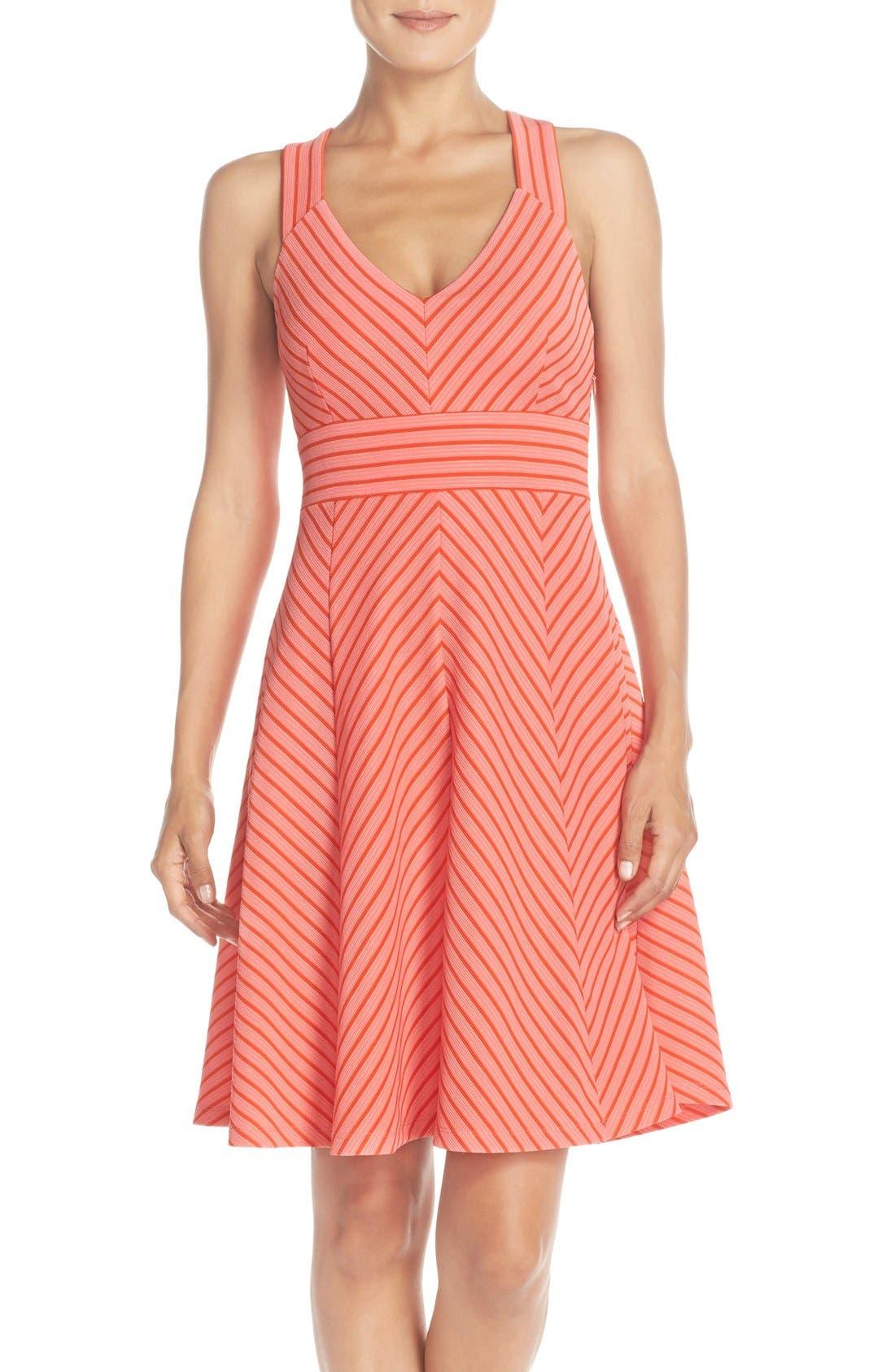 Main Image - Adrianna Papell Stripe Ottoman Knit Sundress (Petite)