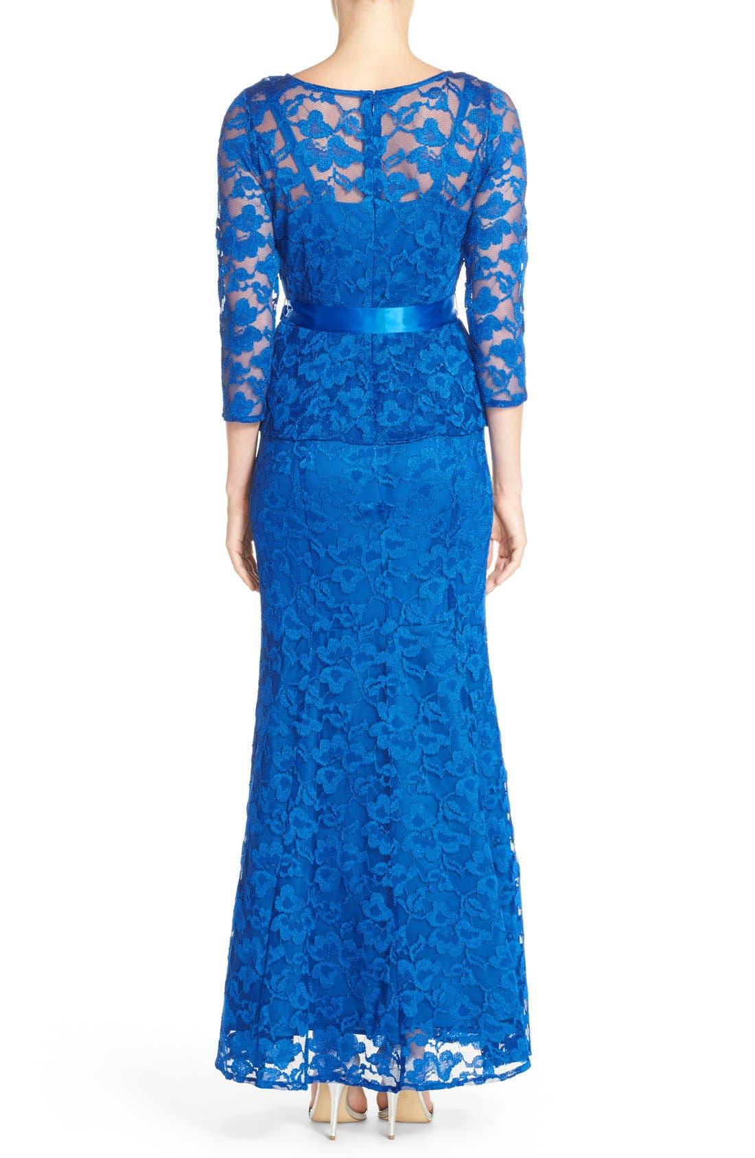 Alternate Image 2  - Chetta B Peplum Lace Mermaid Gown