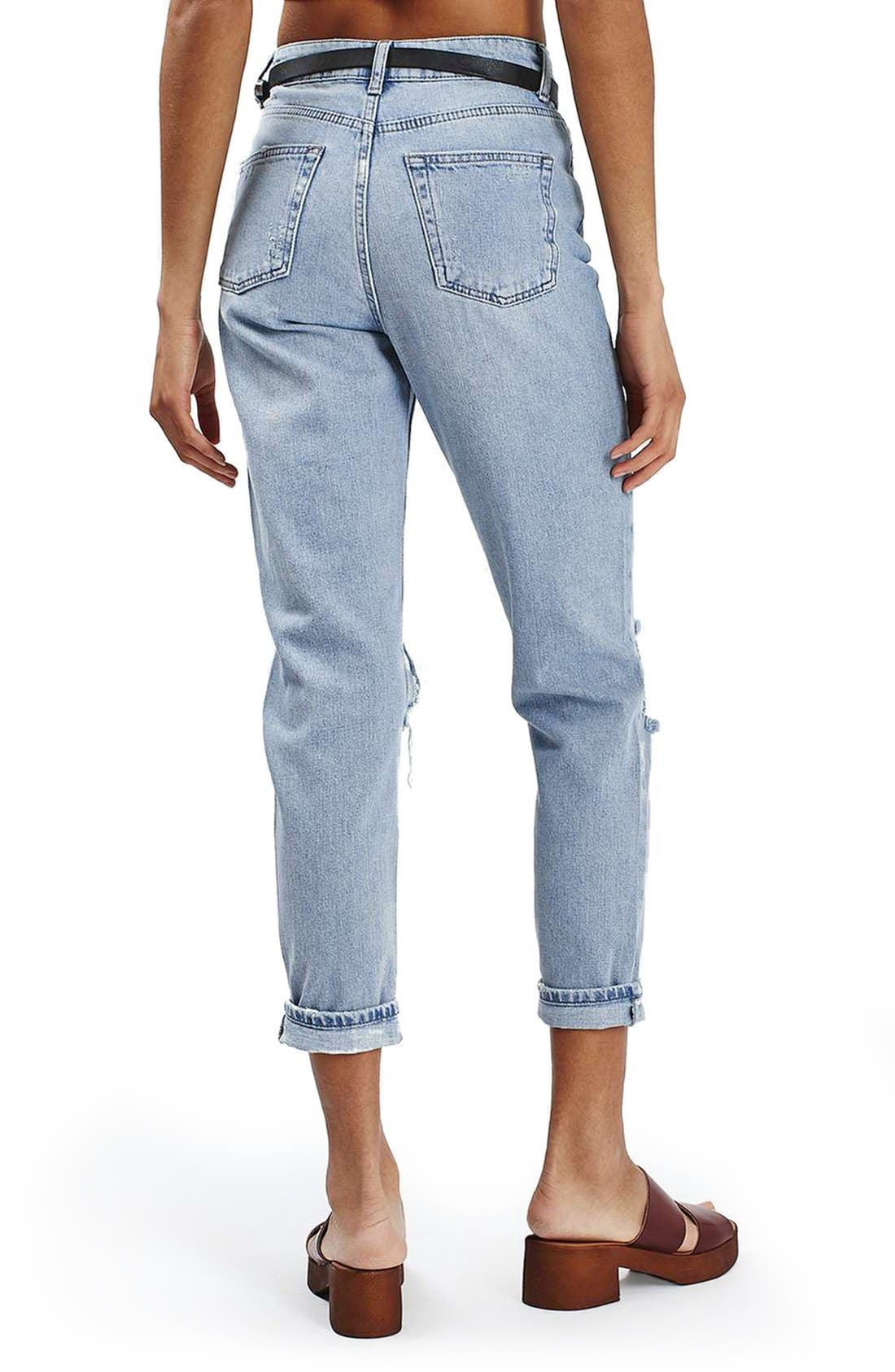 Alternate Image 3  - Topshop Embroidered Ripped Mom Jeans