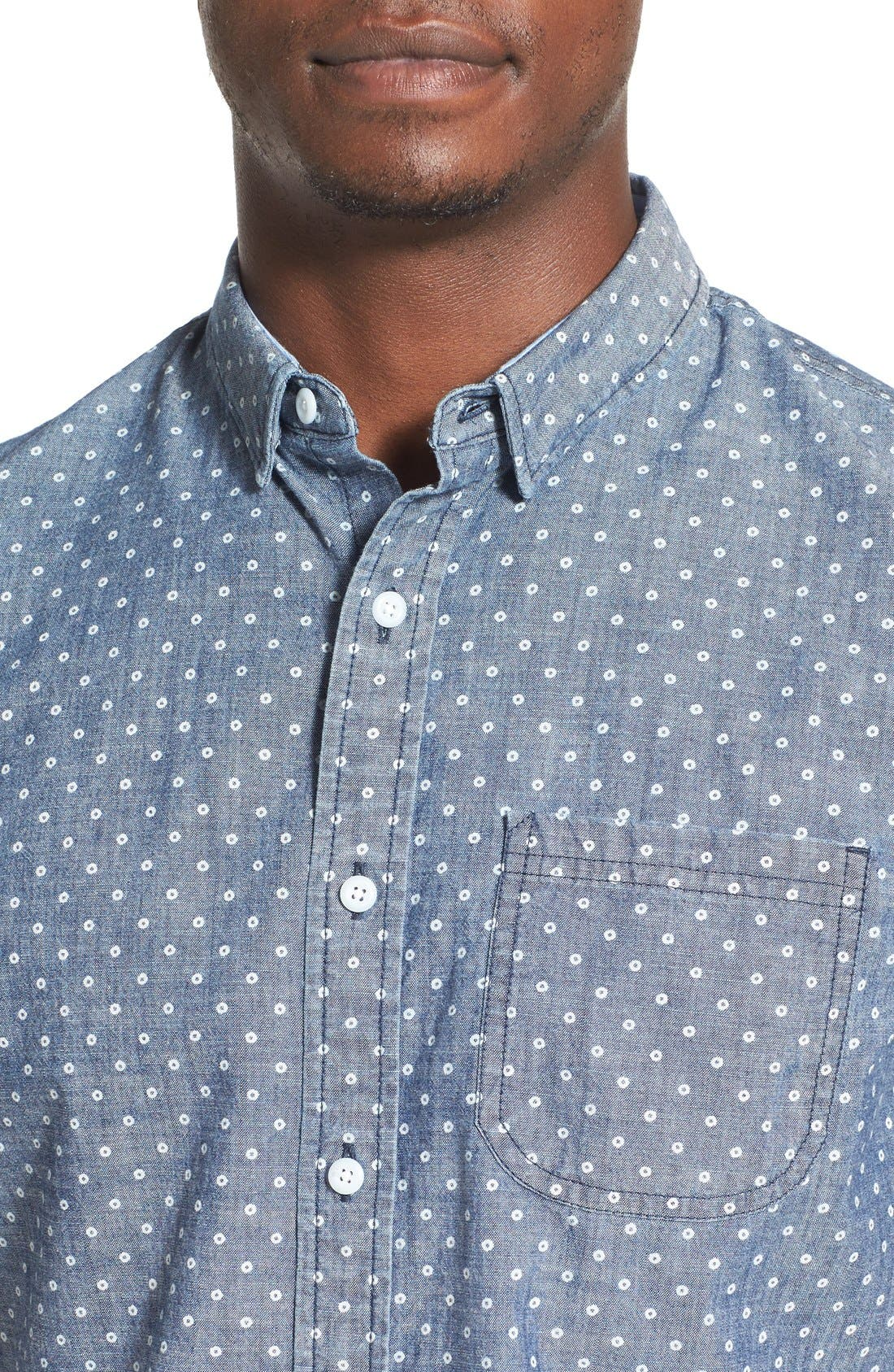 Alternate Image 4  - 1901 'Whitman' Trim Fit Short Sleeve Dot Print Chambray Shirt