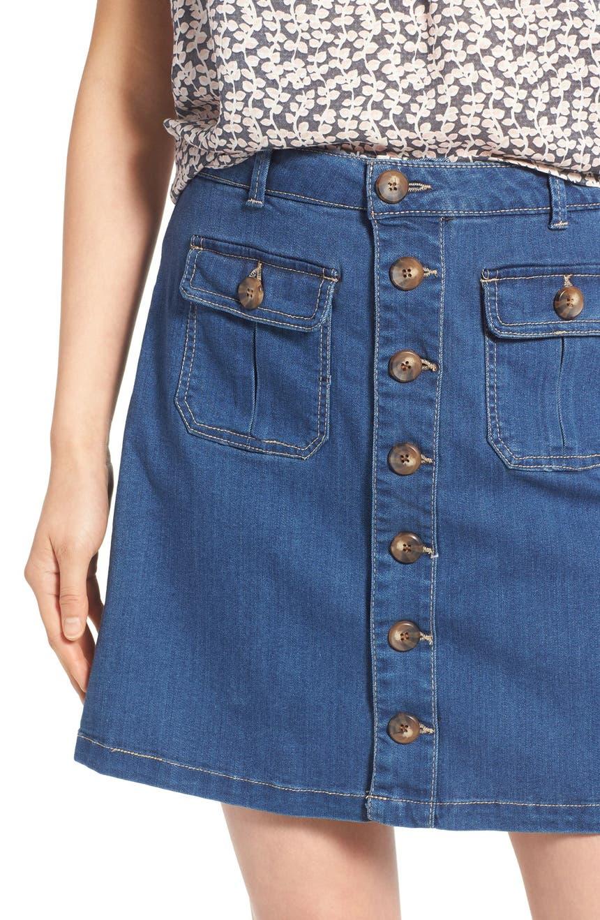 Wit & Wisdom Button Front Denim Skirt (Nordstrom Exclusive ...