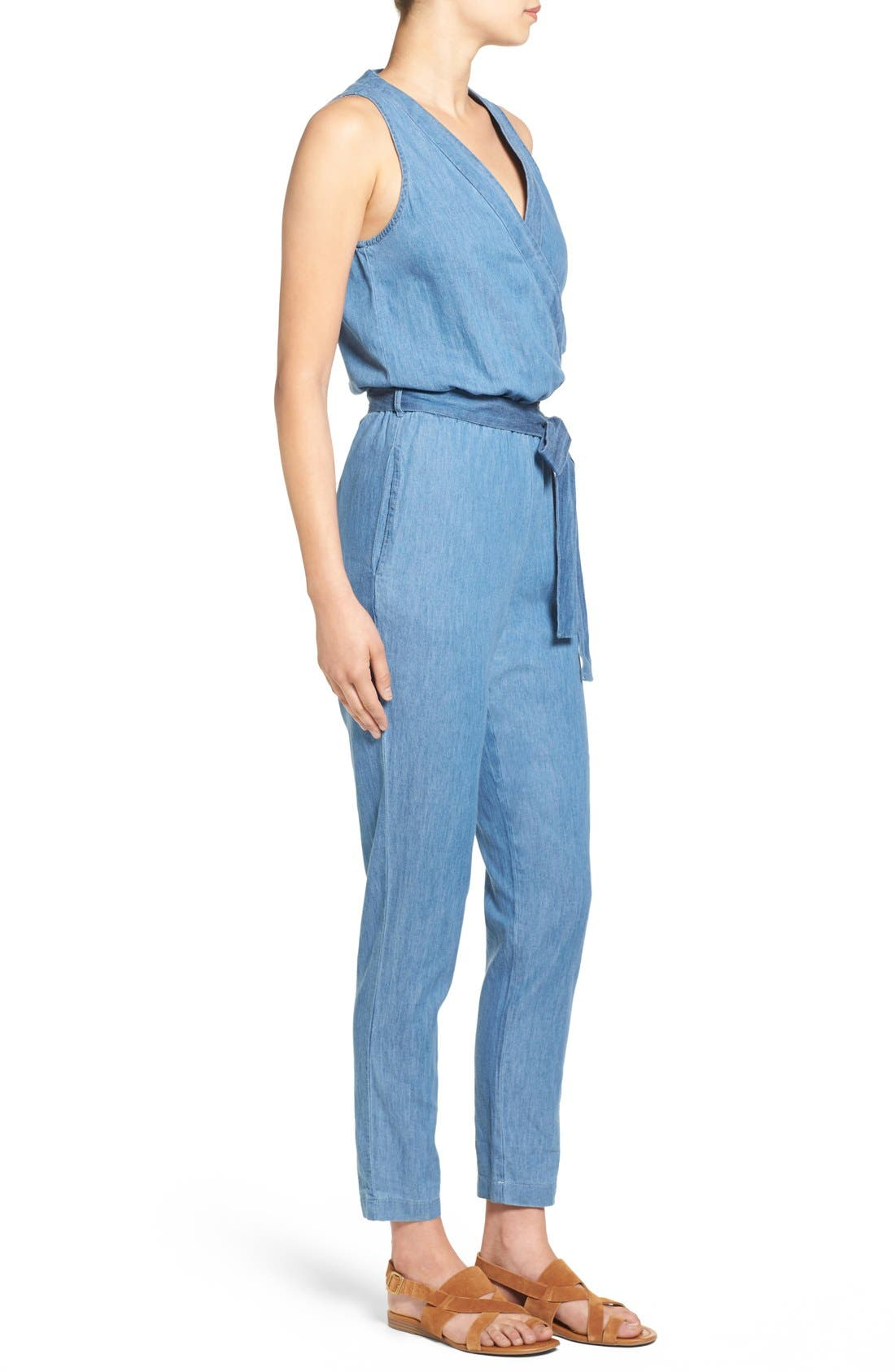 Alternate Image 3  - Mimi Chica Surplice Chambray Jumpsuit