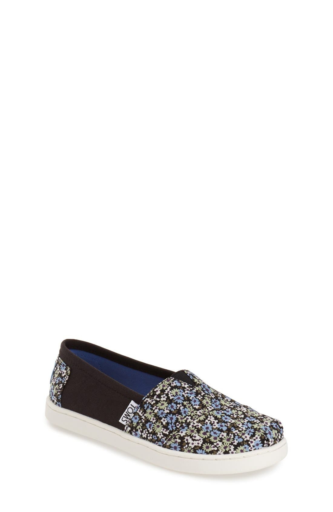 TOMS 'Classic - Black Canvas Ditsy Floral' Slip-On