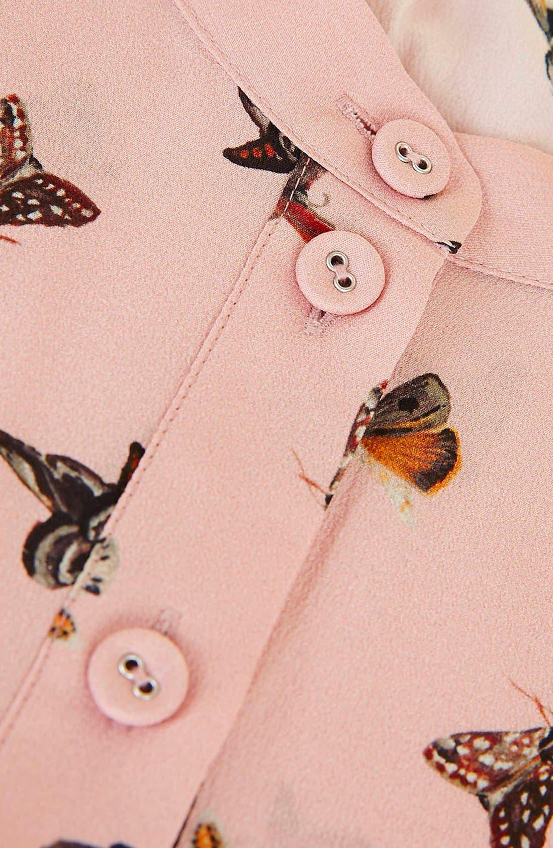 Alternate Image 7  - Topshop Unique 'Campion' Butterfly Print Silk Blouse