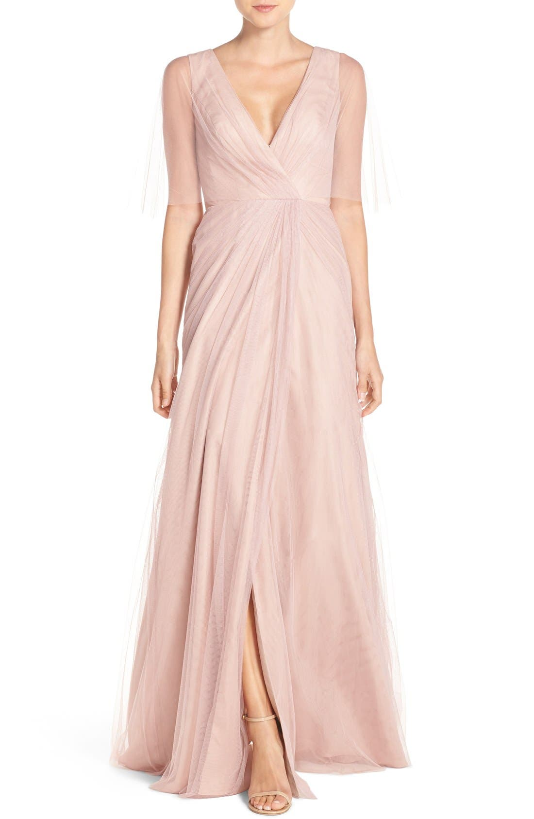 Alternate Image 1 Selected - Monique Lhuillier Bridesmaids Sheer Capelet V-Neck Tulle A-Line Gown