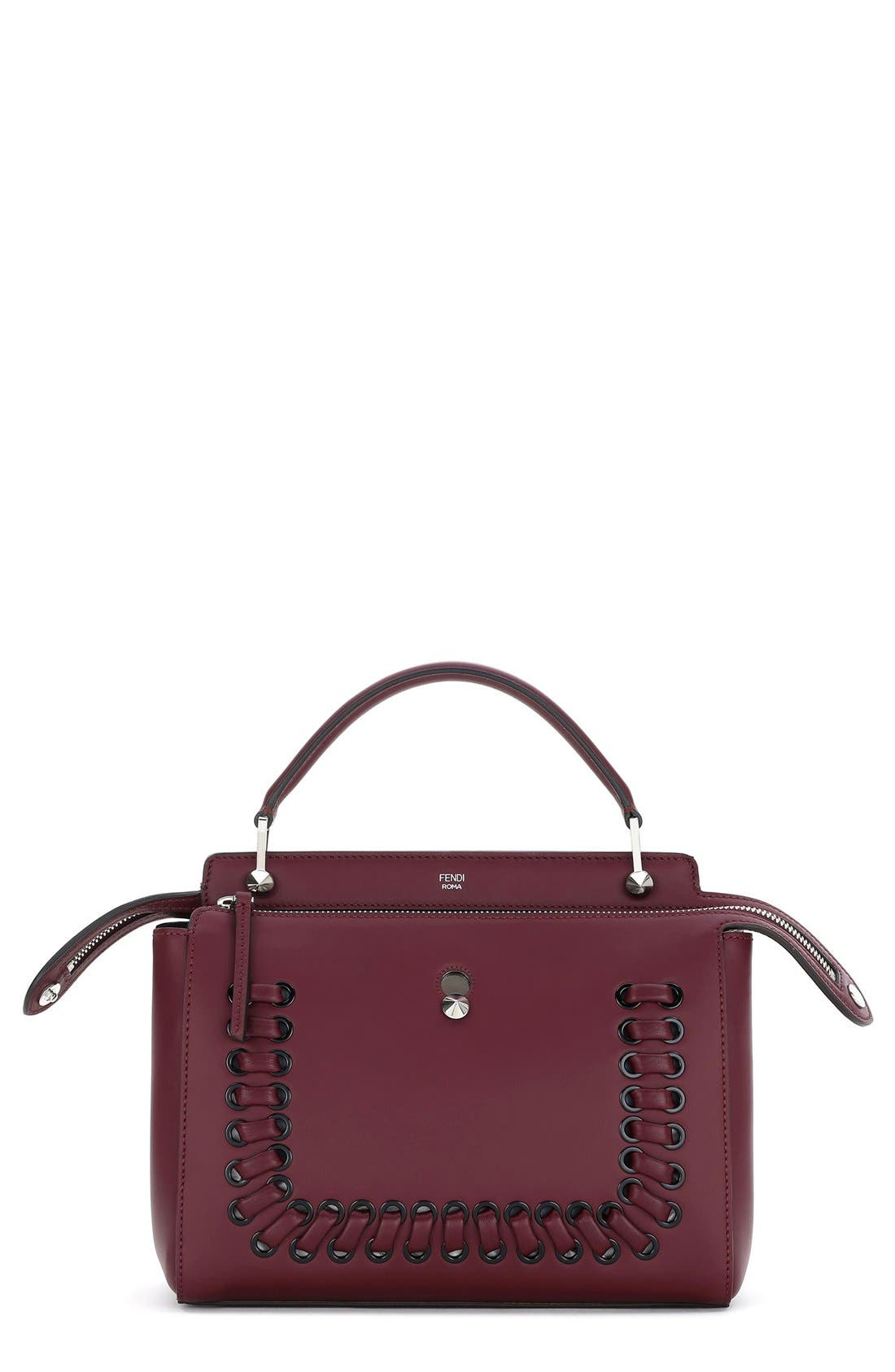 FENDI 'DOTCOM' Lace-Up Leather Satchel