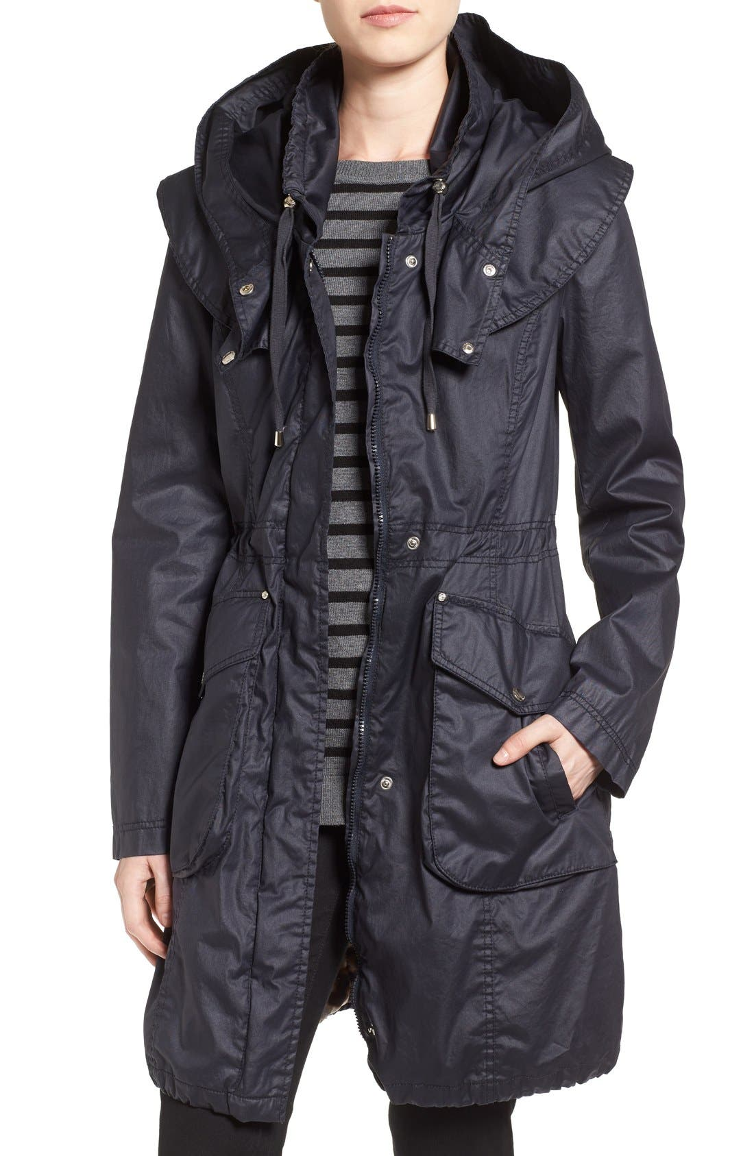 Main Image - Laundry by Shelli Segal Double Collar Hooded Waxed Cotton Anorak (Regular & Petite)