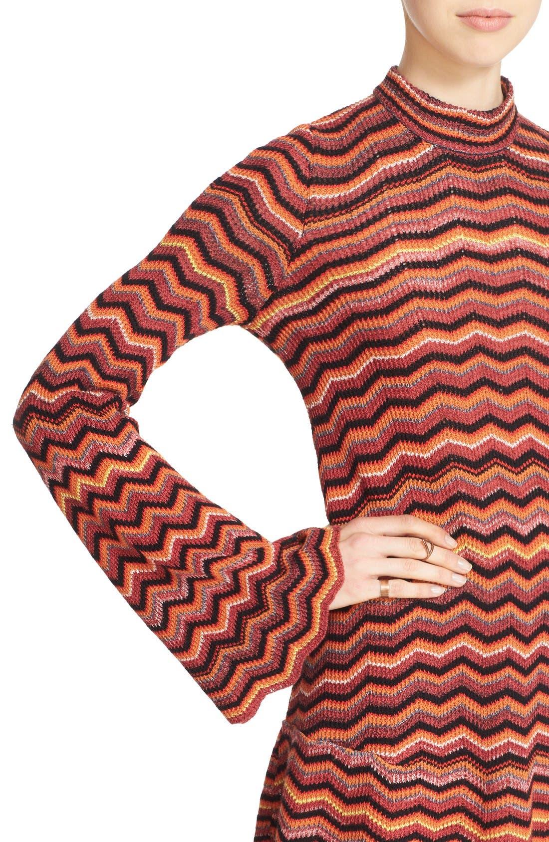 Alternate Image 4  - Free People Ziggy Bell Sleeve Stripe Sweater Dress