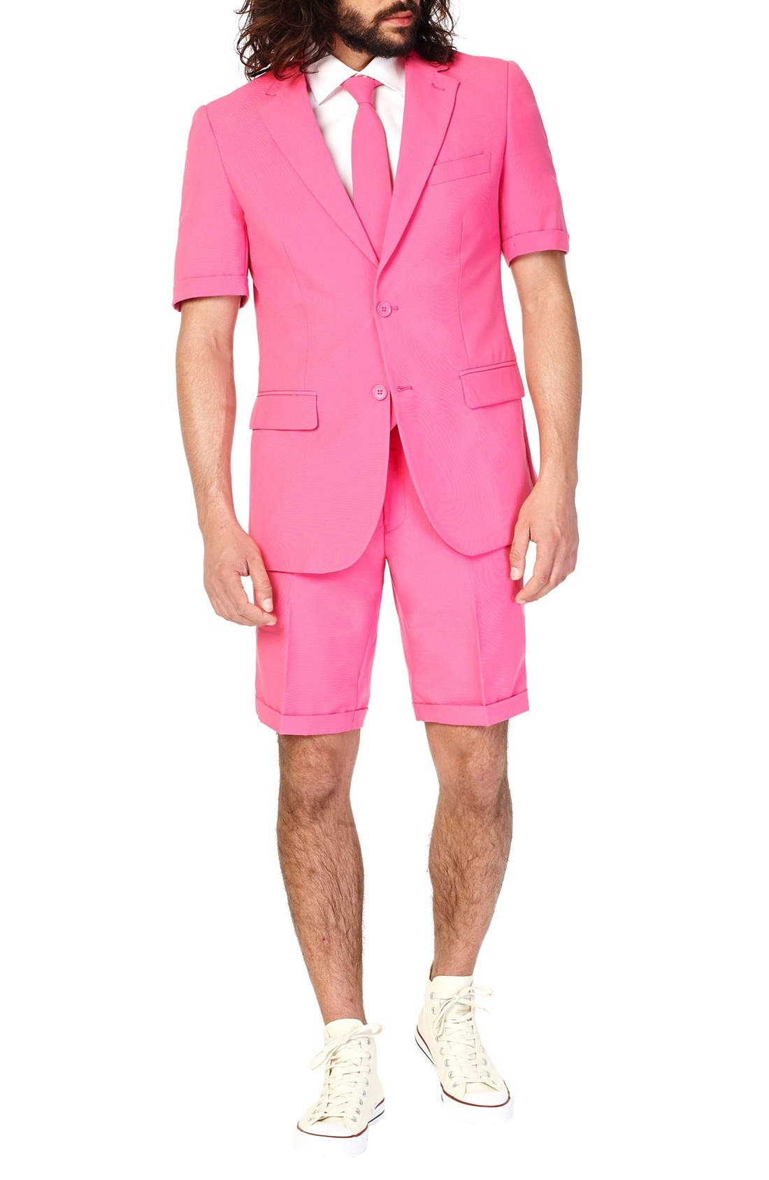 OppoSuits 'Mr. Pink - Summer' Trim Fit Two-Piece Short Suit with Tie