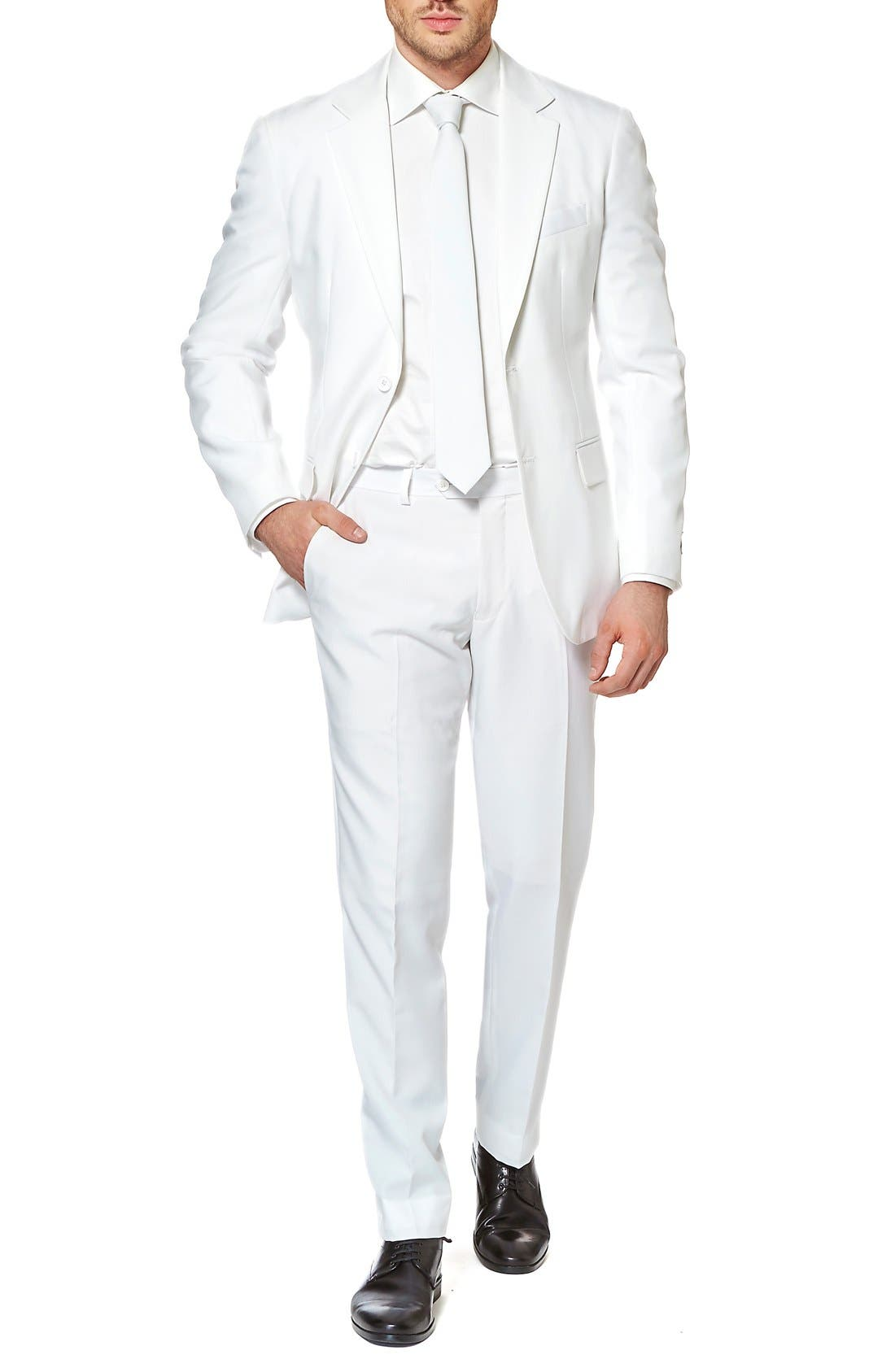 OppoSuits White Knight Trim Fit Two-Piece Suit with Tie