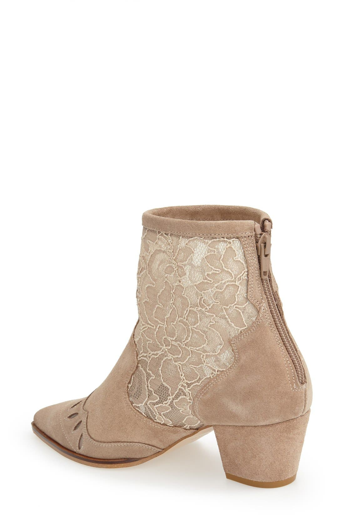 Alternate Image 2  - Topshop 'Alegra' Lace Pointy Toe Boot (Women)