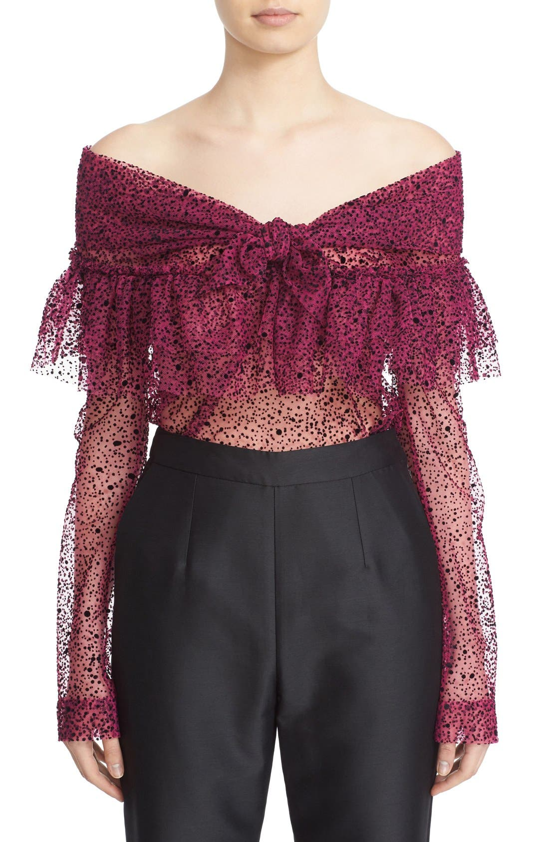 Alternate Image 1  - Isa Arfen Ruffle Knot Off the Shoulder Tulle Top
