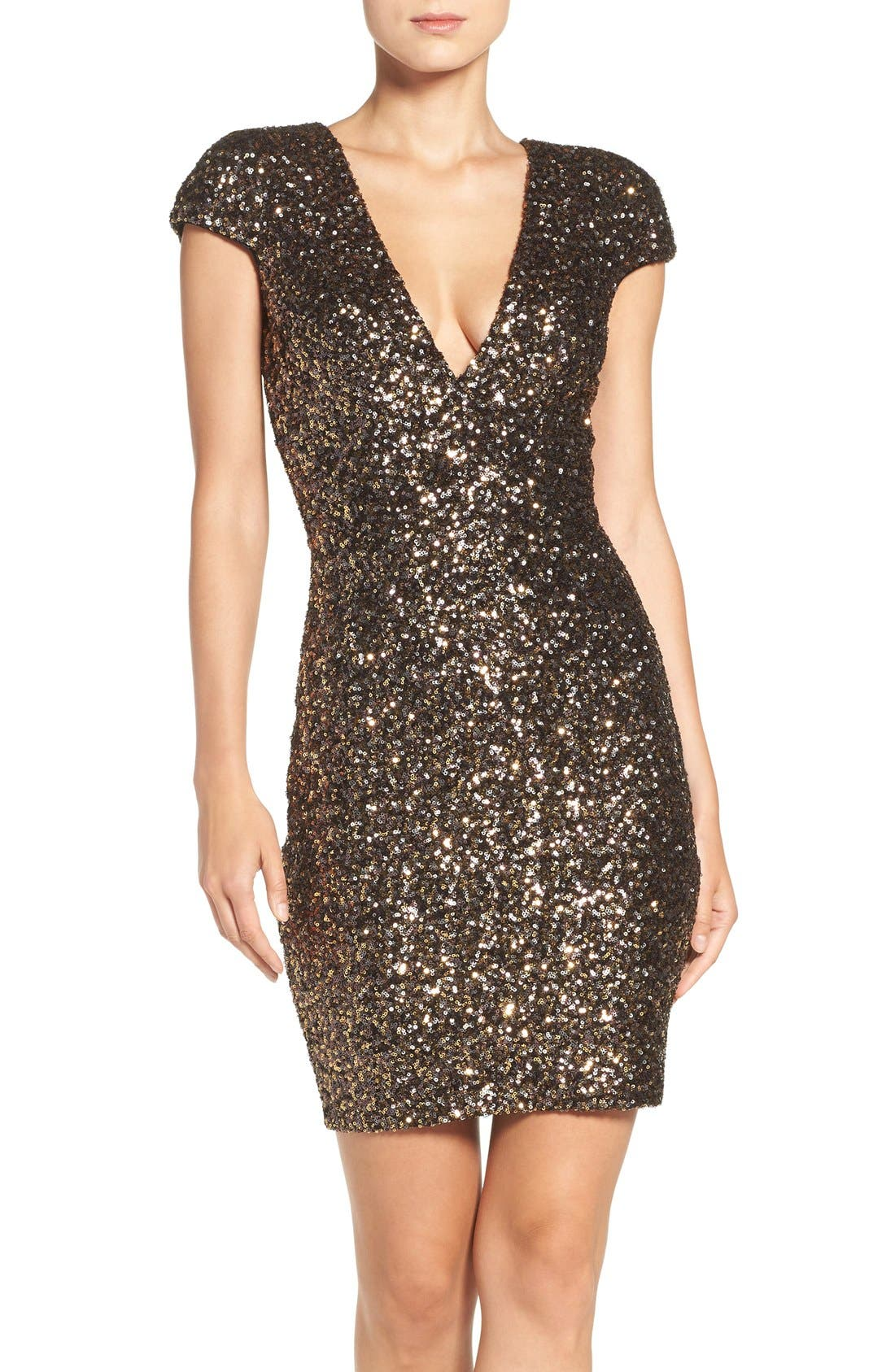 DRESS THE POPULATION Zoe Sequin Minidress
