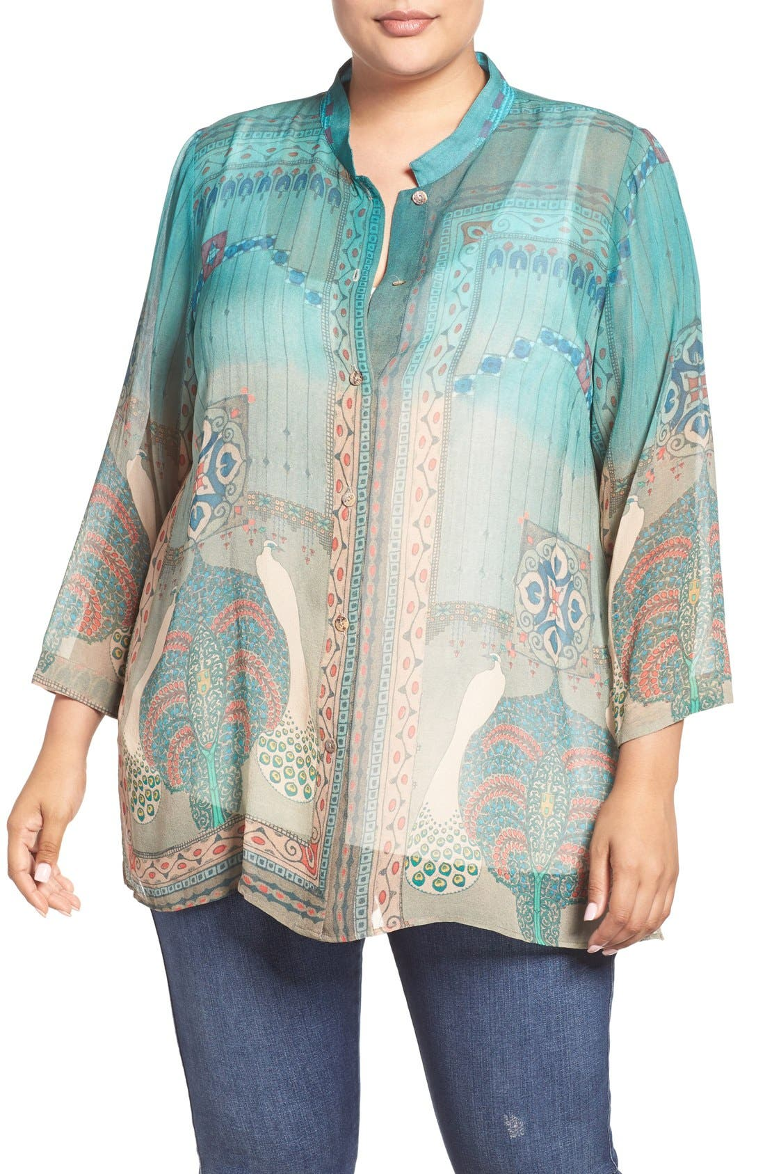CITRON Peacock Print Silk Blouse