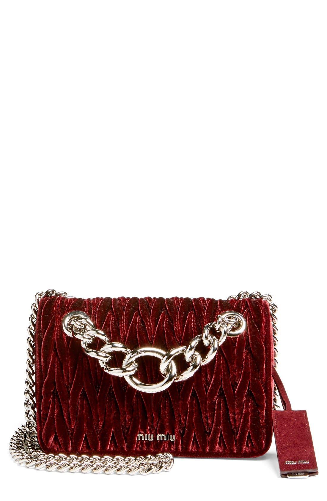 Alternate Image 1 Selected - Miu Miu 'Small Club' Matelassé Velvet Shoulder Bag