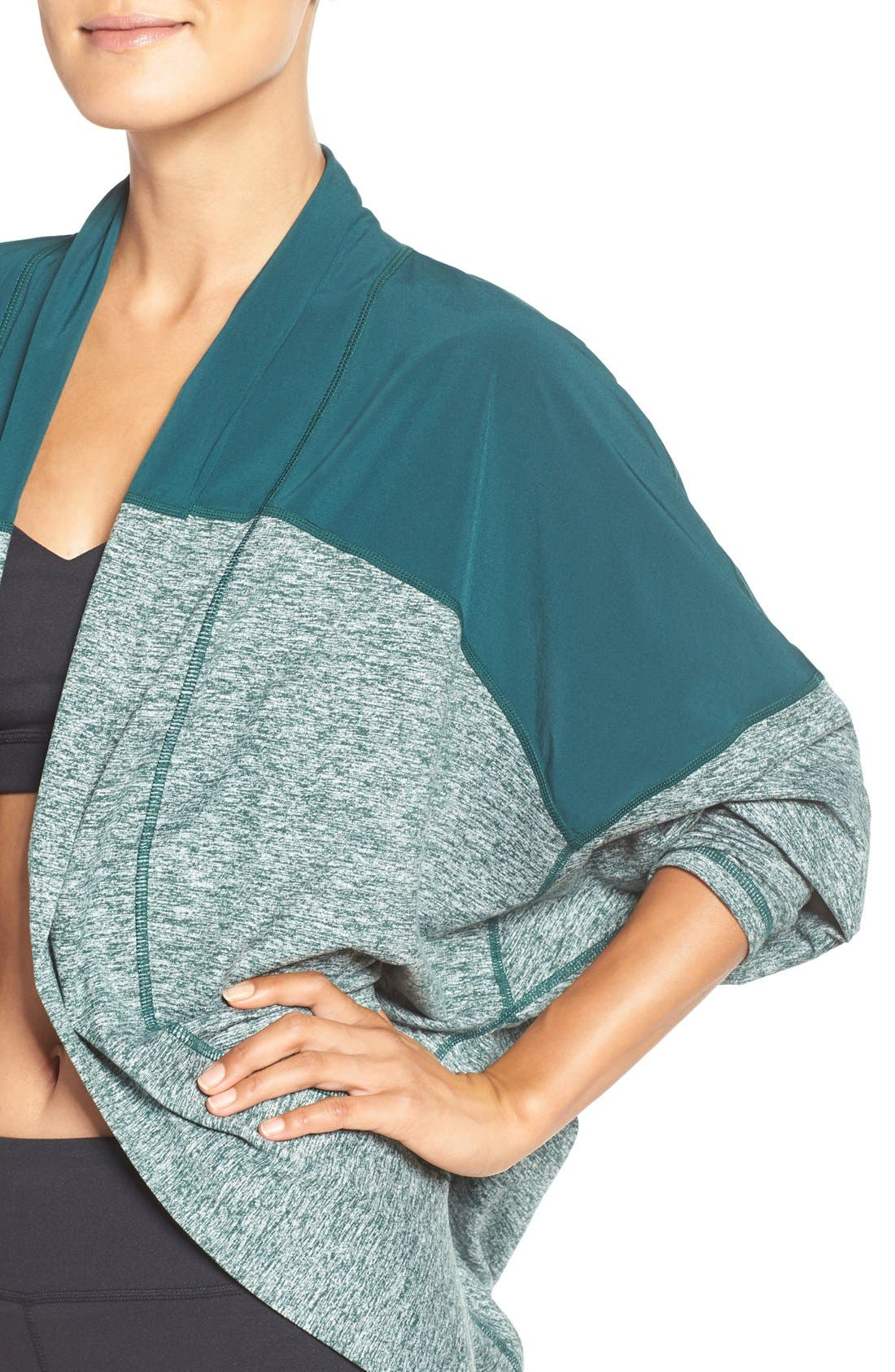 Alternate Image 4  - Zella Reversible Colorblock Cocoon Cardigan