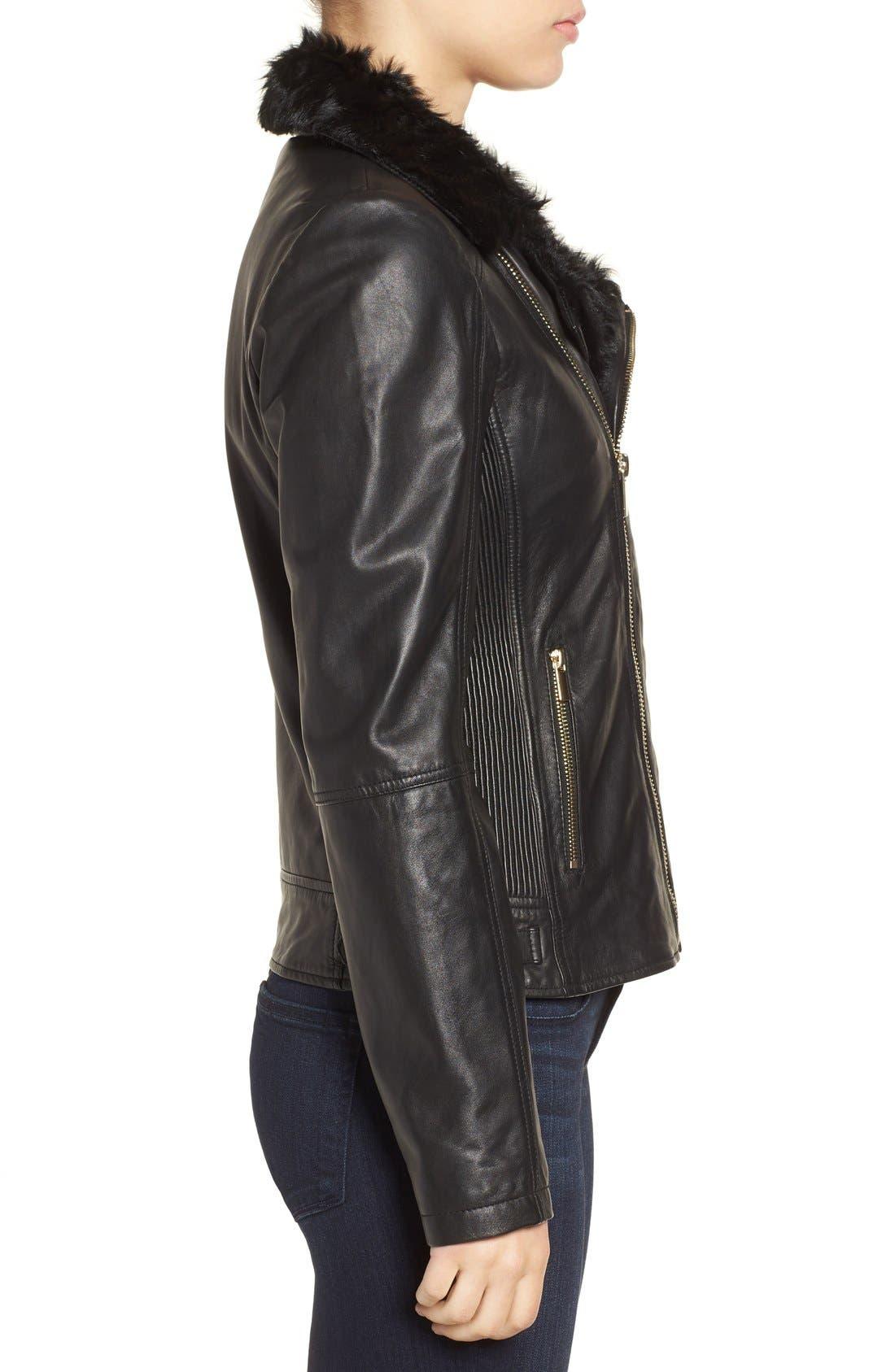 Alternate Image 3  - Badgley Mischka 'Irina' Leather Moto Jacket with Genuine Shearling Collar