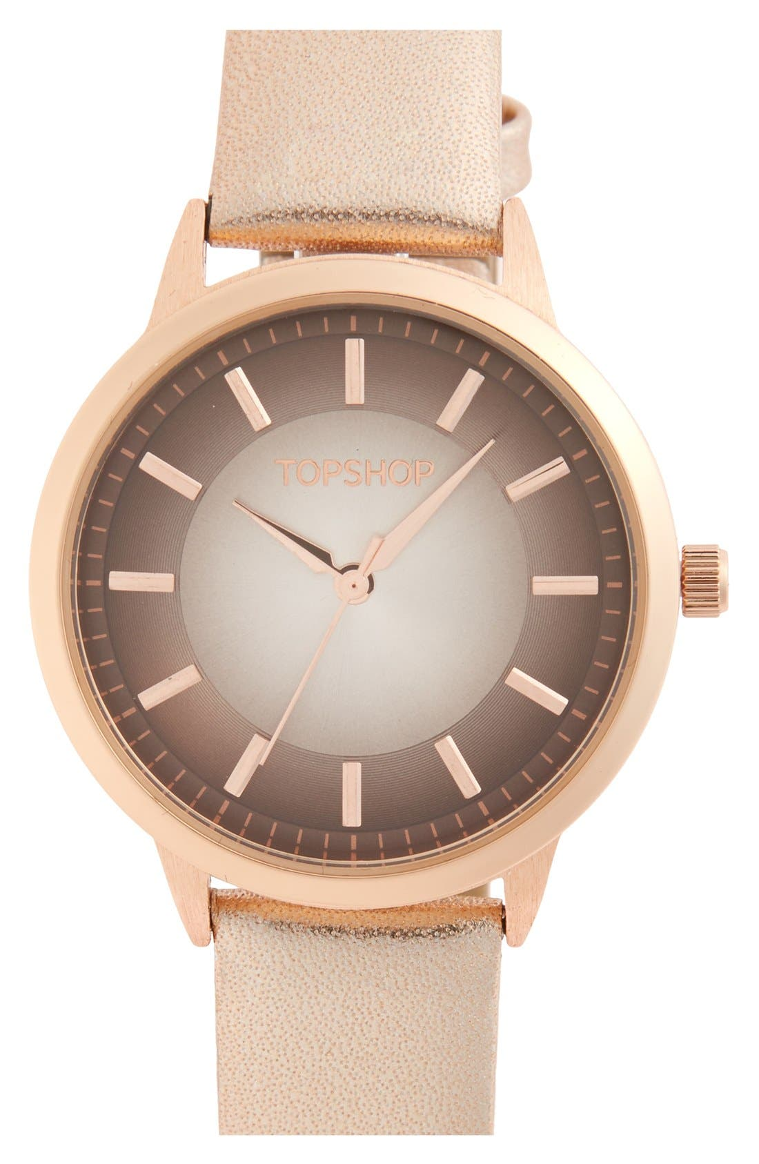 Main Image - Topshop Ombré Border Dial Leather Strap Watch, 35mm